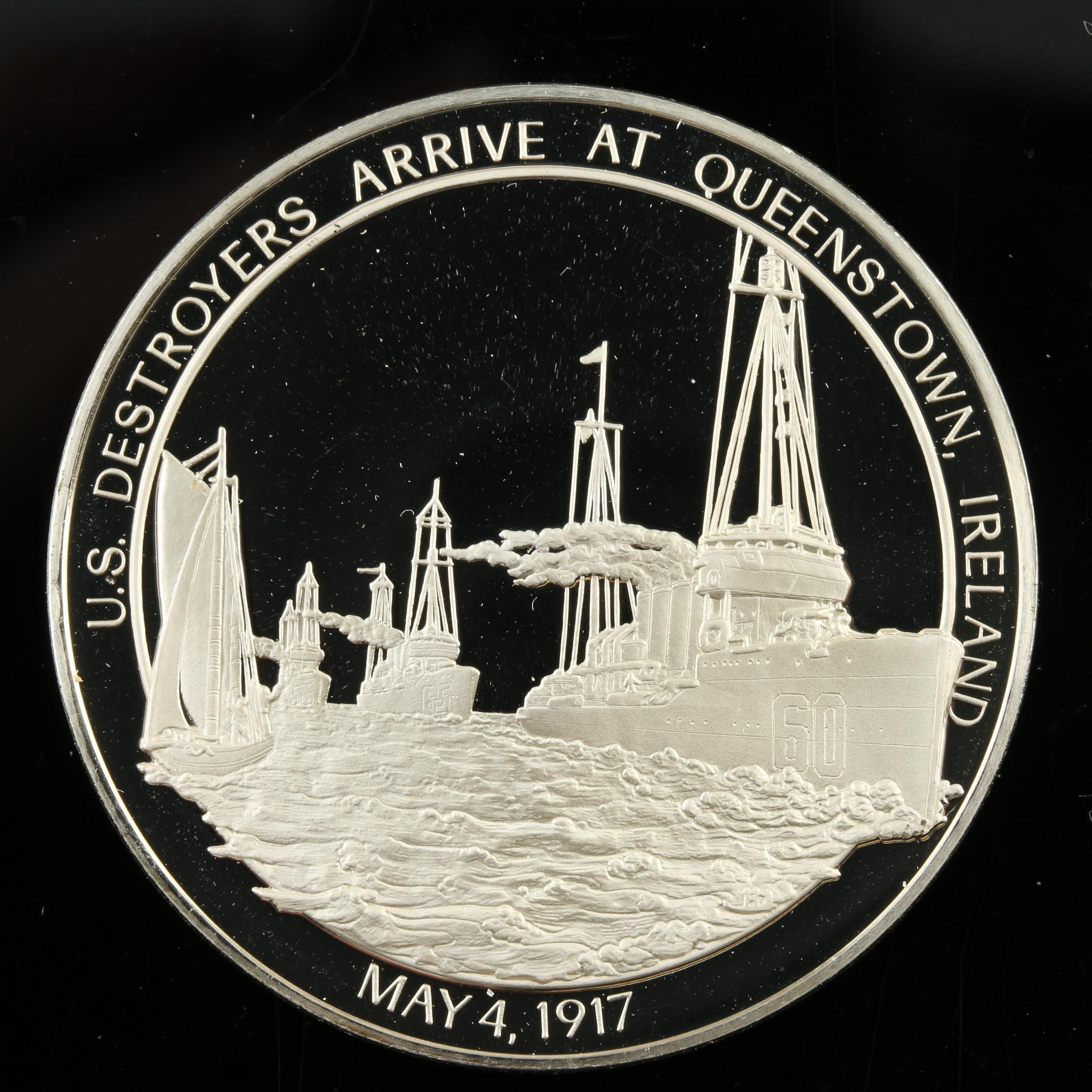 Sterling Silver Medal Commemorating U.S. Destroyers Arriving at Queenstown