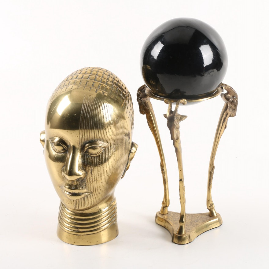 African Ife-Style Brass Bust and Black Lacquered Gazing Ball with Brass Base