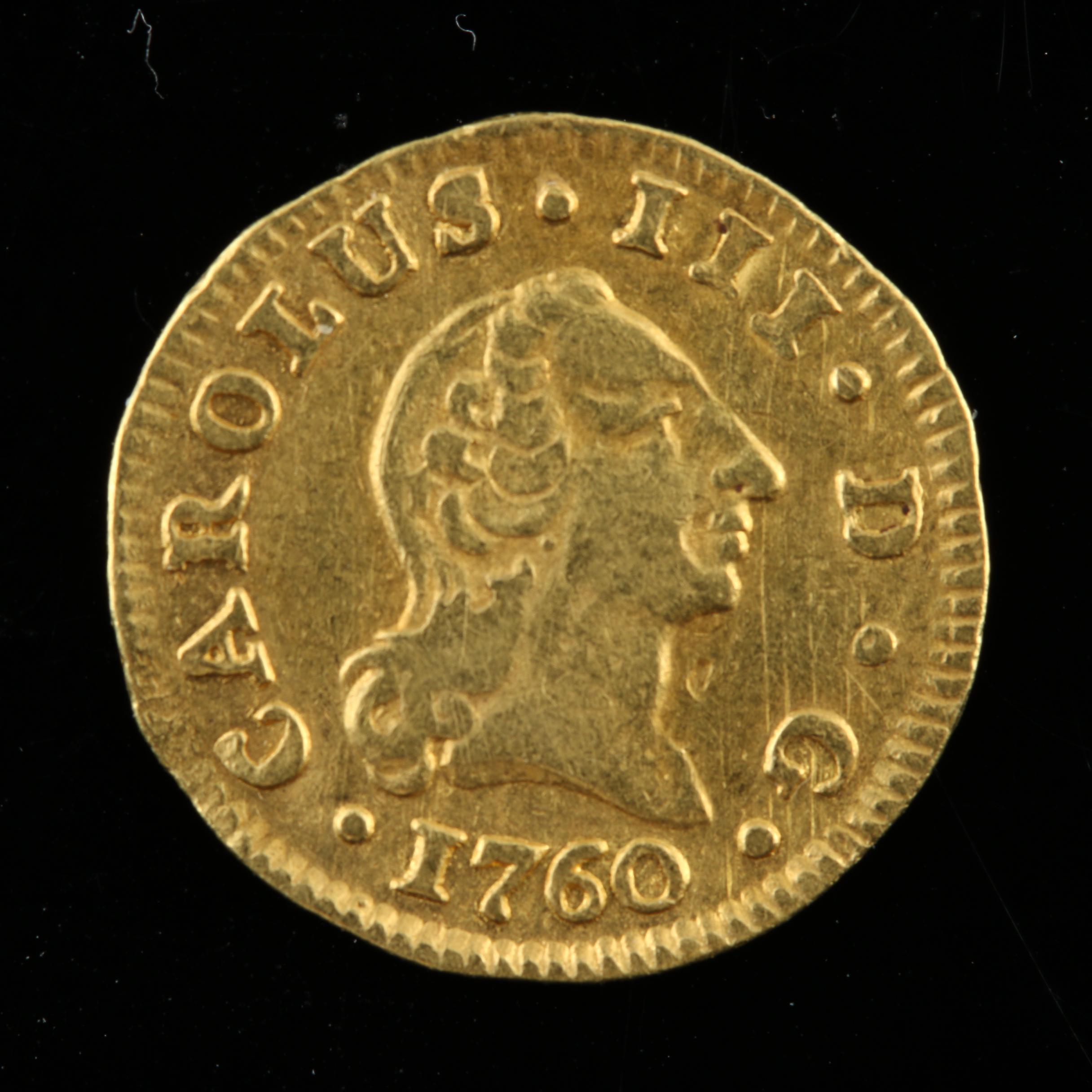 1760 Carlos III 1/2 Escudo Gold Coin