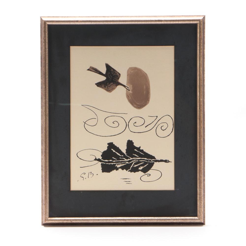 """Georges Braque Color Lithograph on Paper """"Nuage en échec"""""""