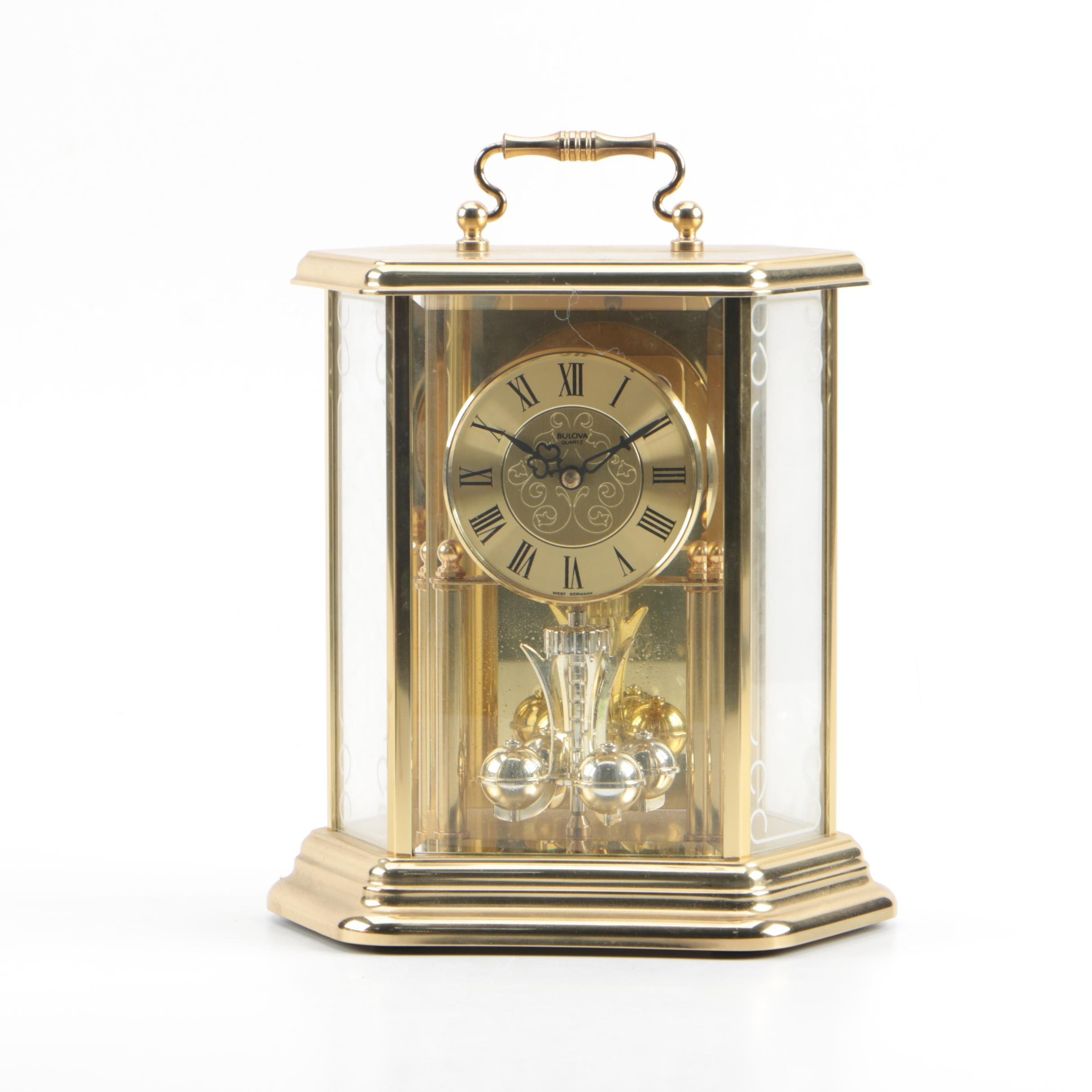 Bulova German Brass Finished Metal Carriage Clock