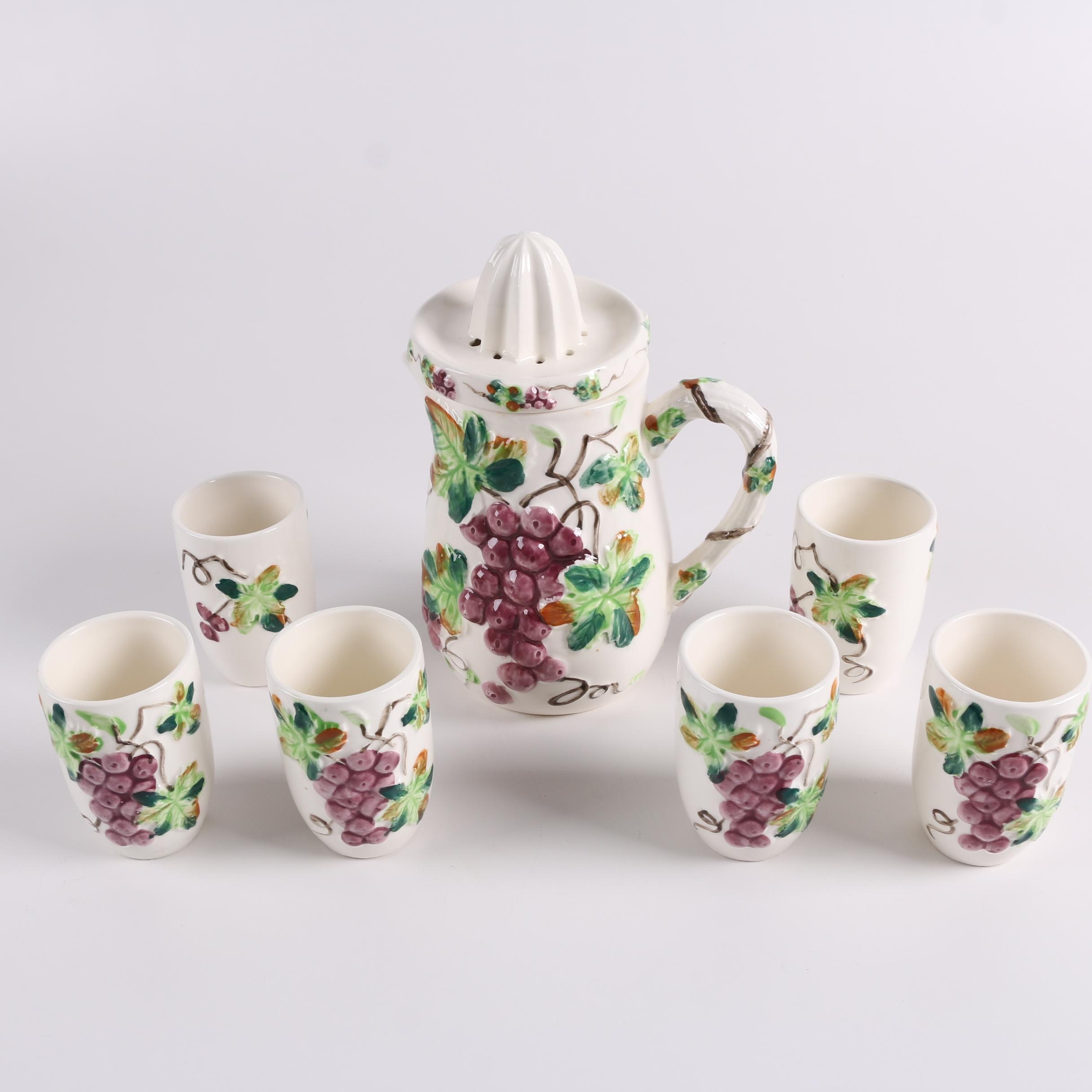 Vintage Grape-Themed Ceramic Juicer and Tumblers