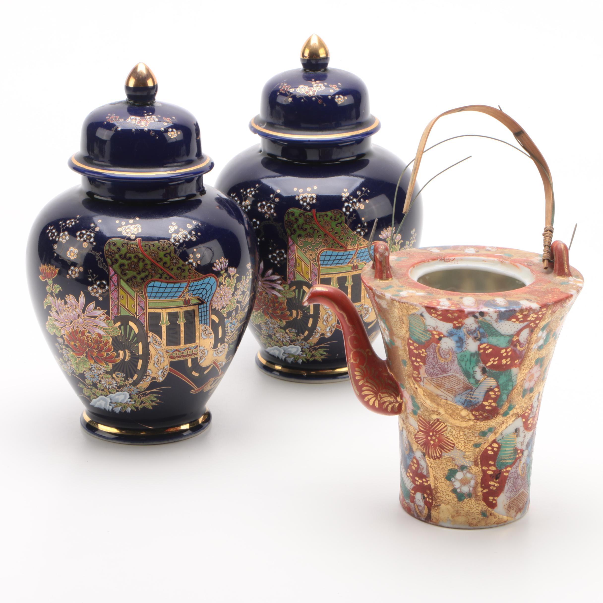 Japanese Porcelain Ginger Jars with Kutani Porcelain Teapot