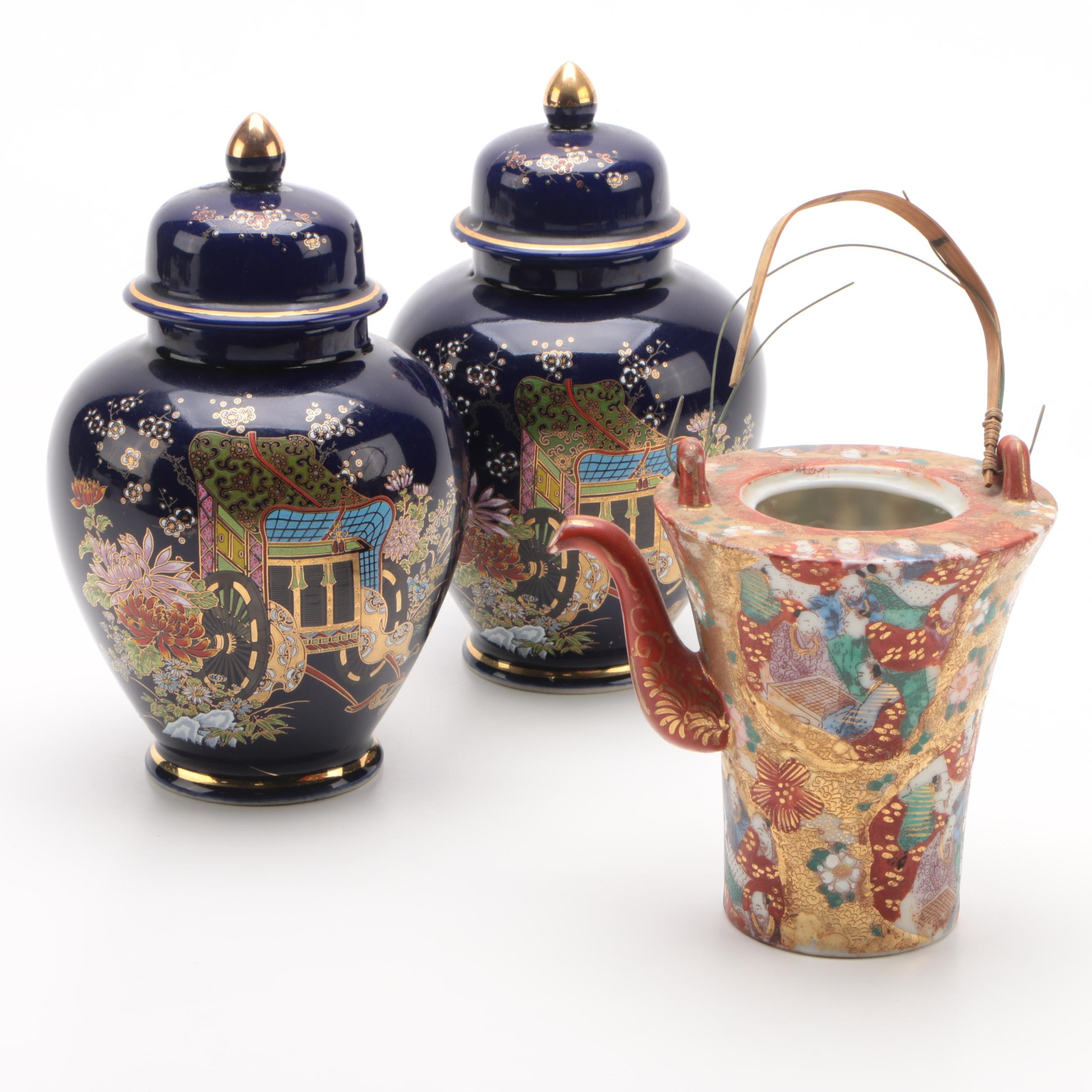 Japanese Porcelain Ginger Jars with Kutani Porcelain Teapot