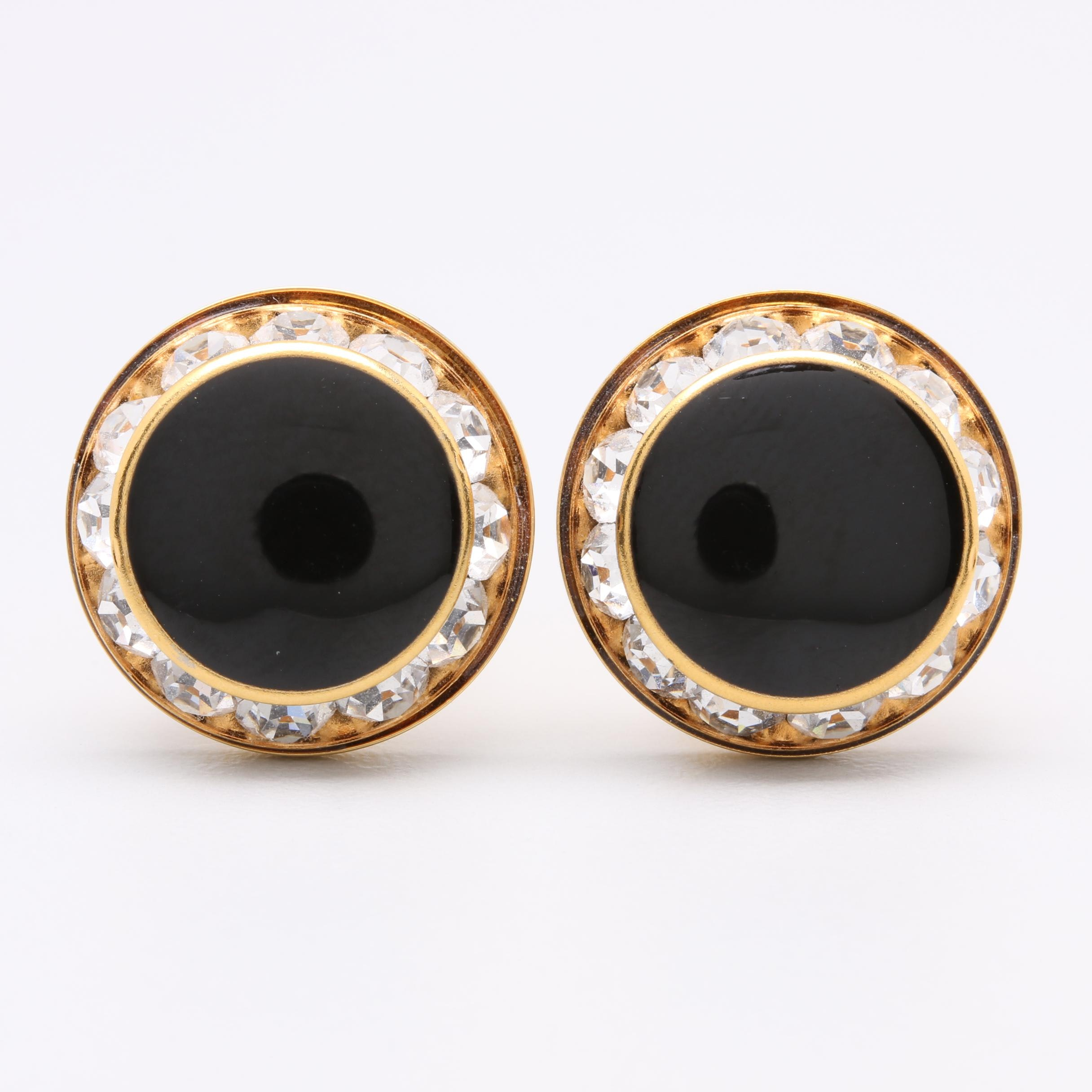 Gold Tone Black Glass Cufflinks with Foilback Accents