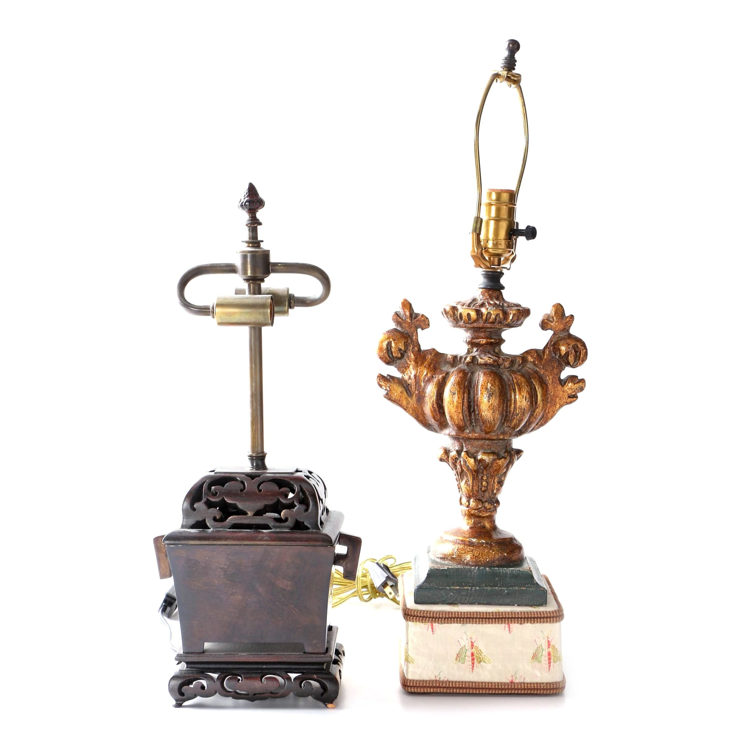 Carved Wood Table Lamp with  Gilt Finish Plaster Table Lamp