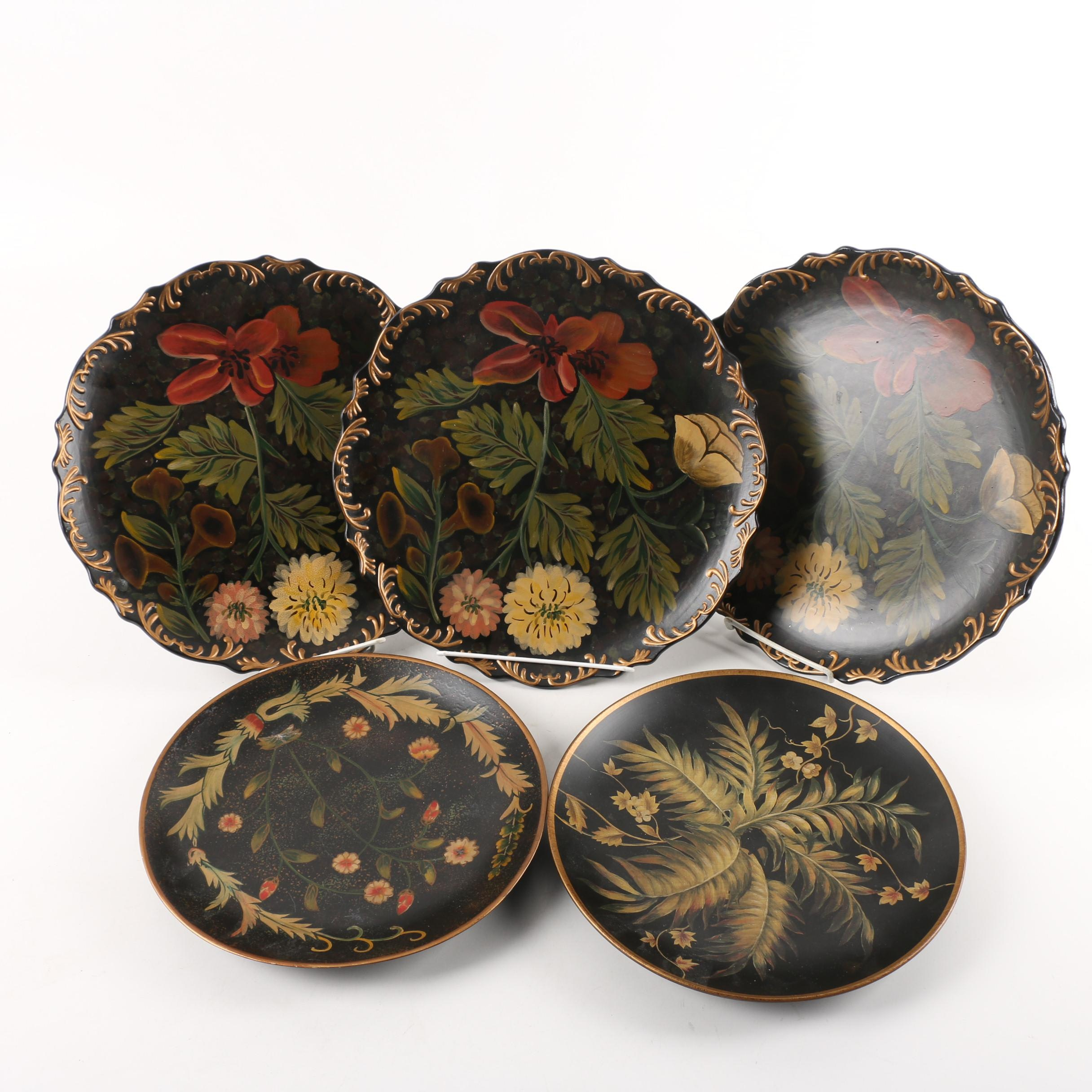 Decorative Floral and Foliate Painted Plates