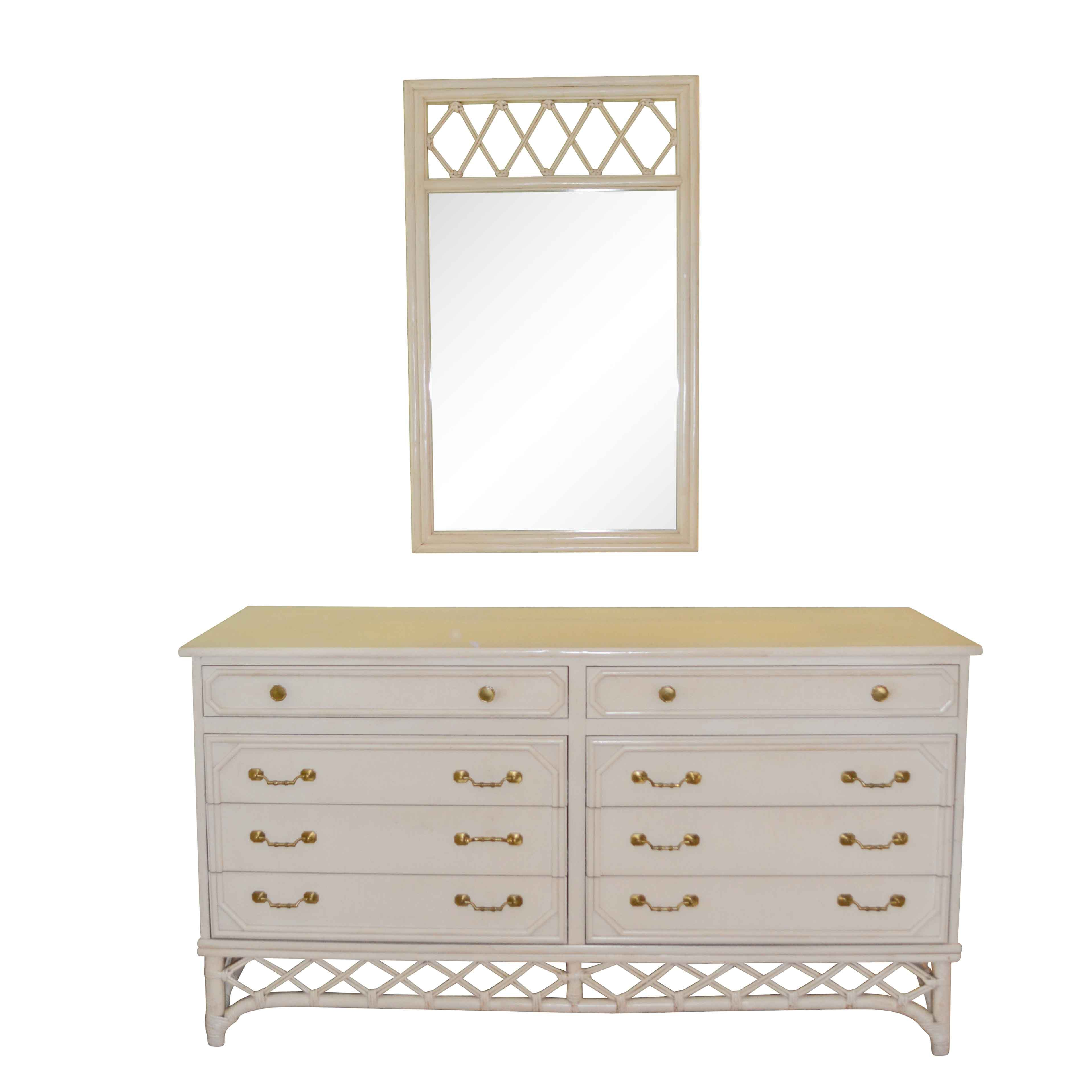 Vintage White Painted Dresser and Mirror by Ficks Reed