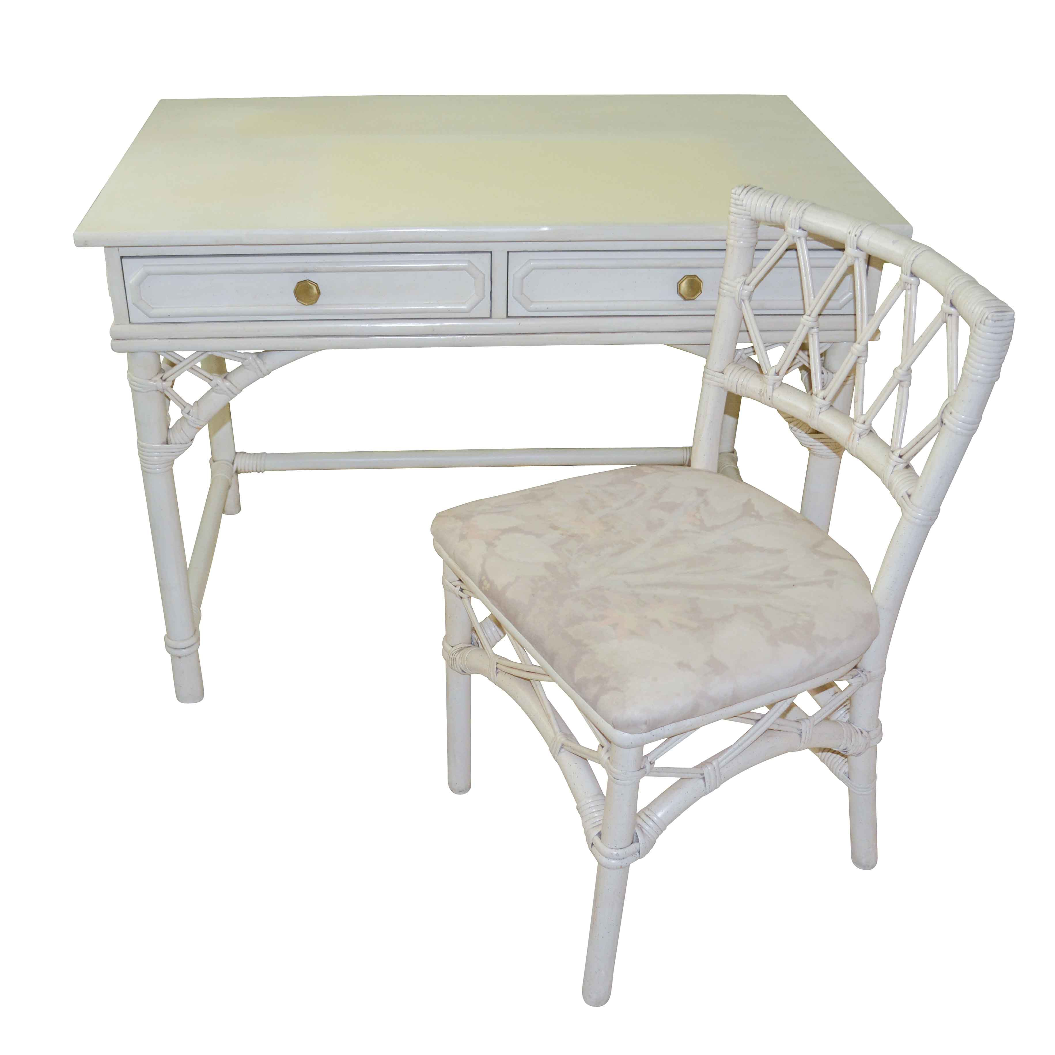 Vintage White Painted Rattan Desk and Side Chair by Ficks Reed