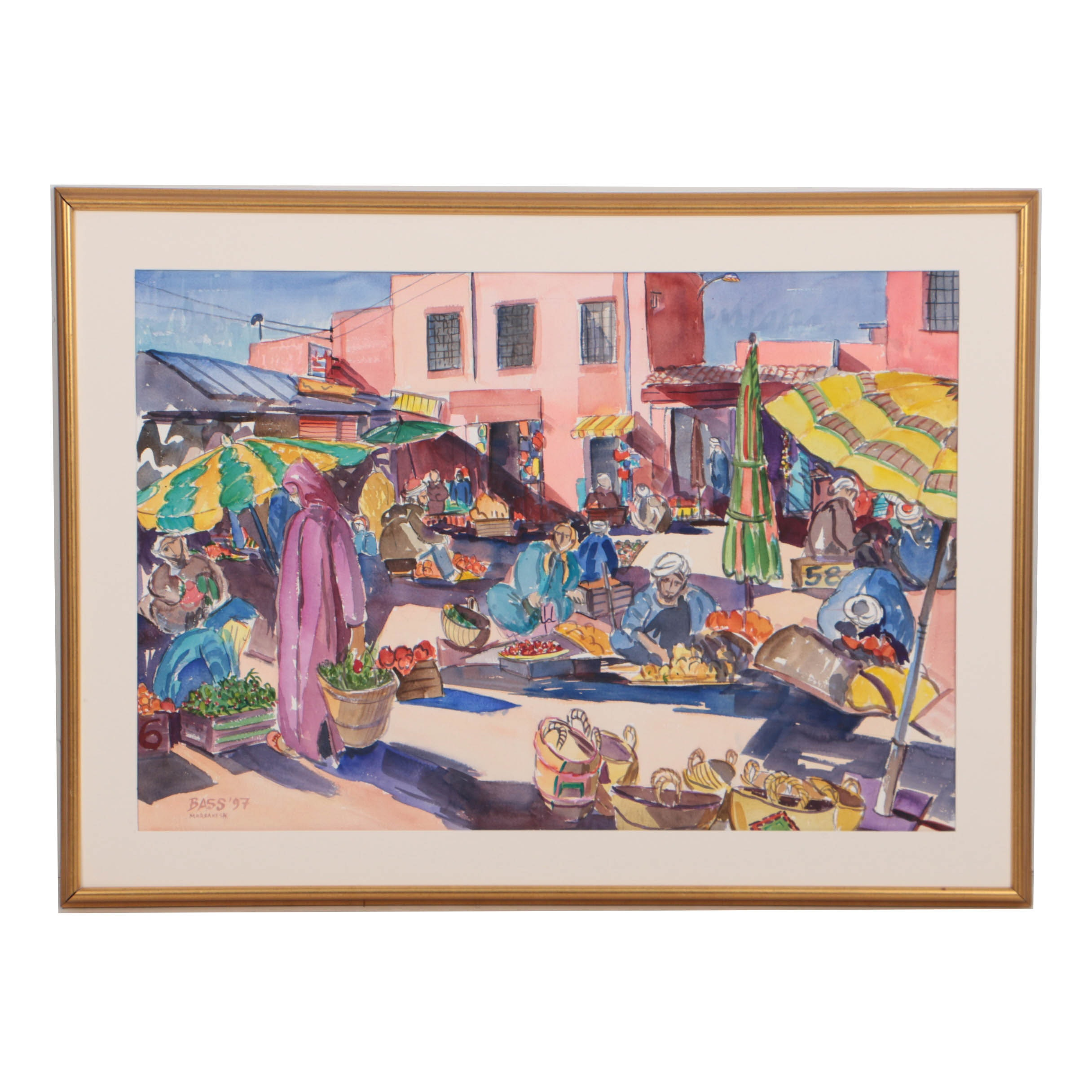 "David Loren Bass 1997 Watercolor Painting on Paper ""Marrakesh"""