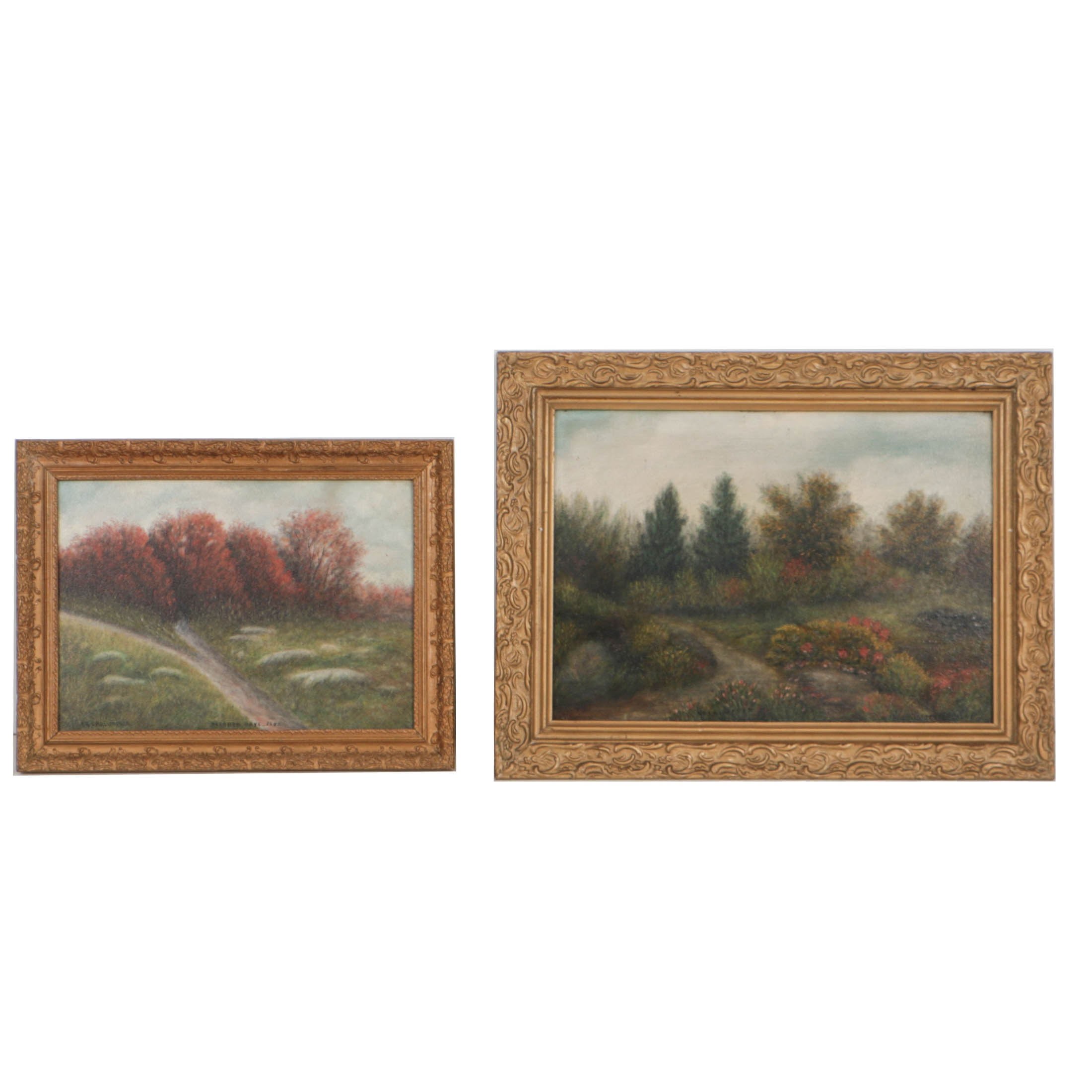 Two Irvin Christopher Oil Paintings on Board of Impressionistic Ohio Landscapes