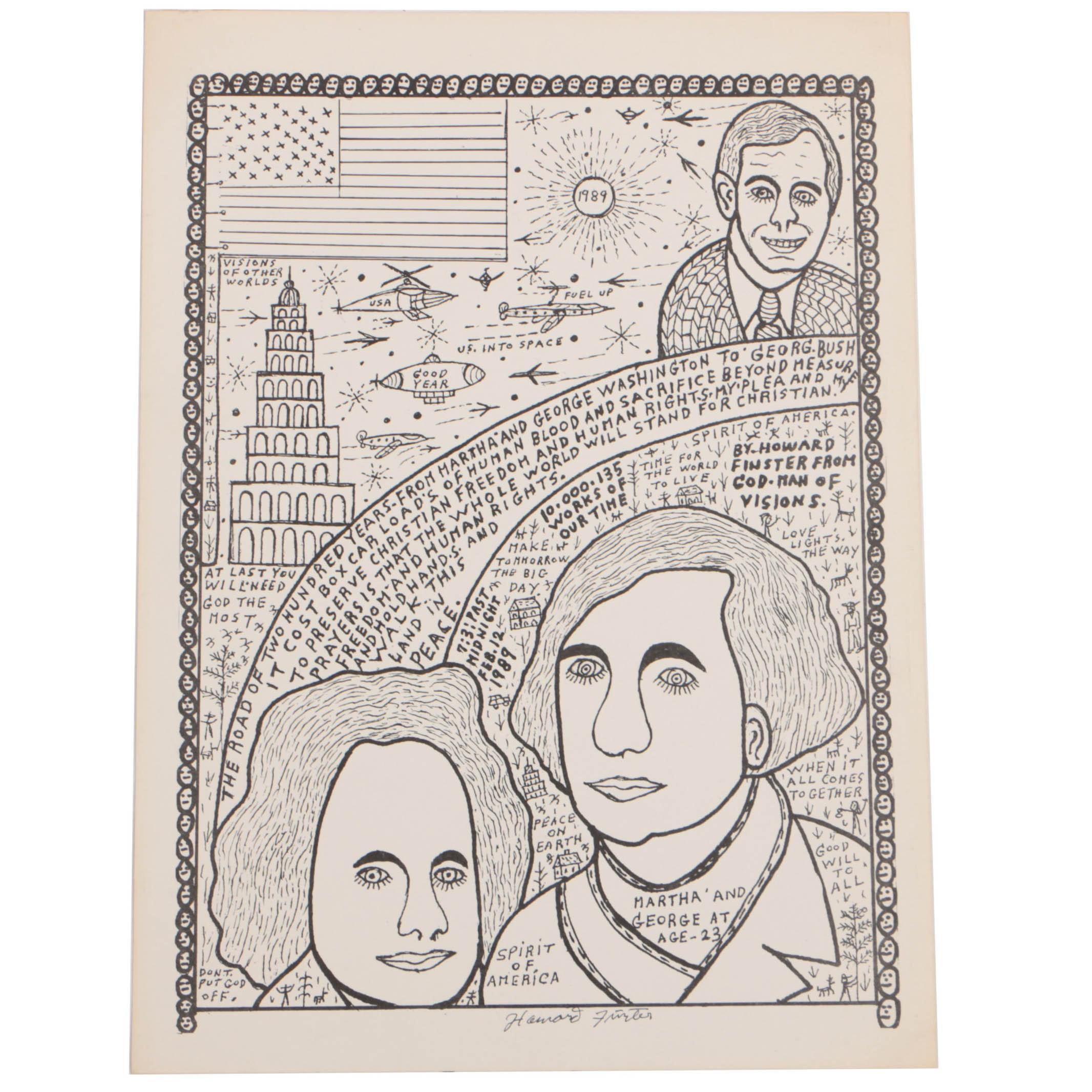 "Howard Finster Poster Print on Paper ""Martha & George Washington"""