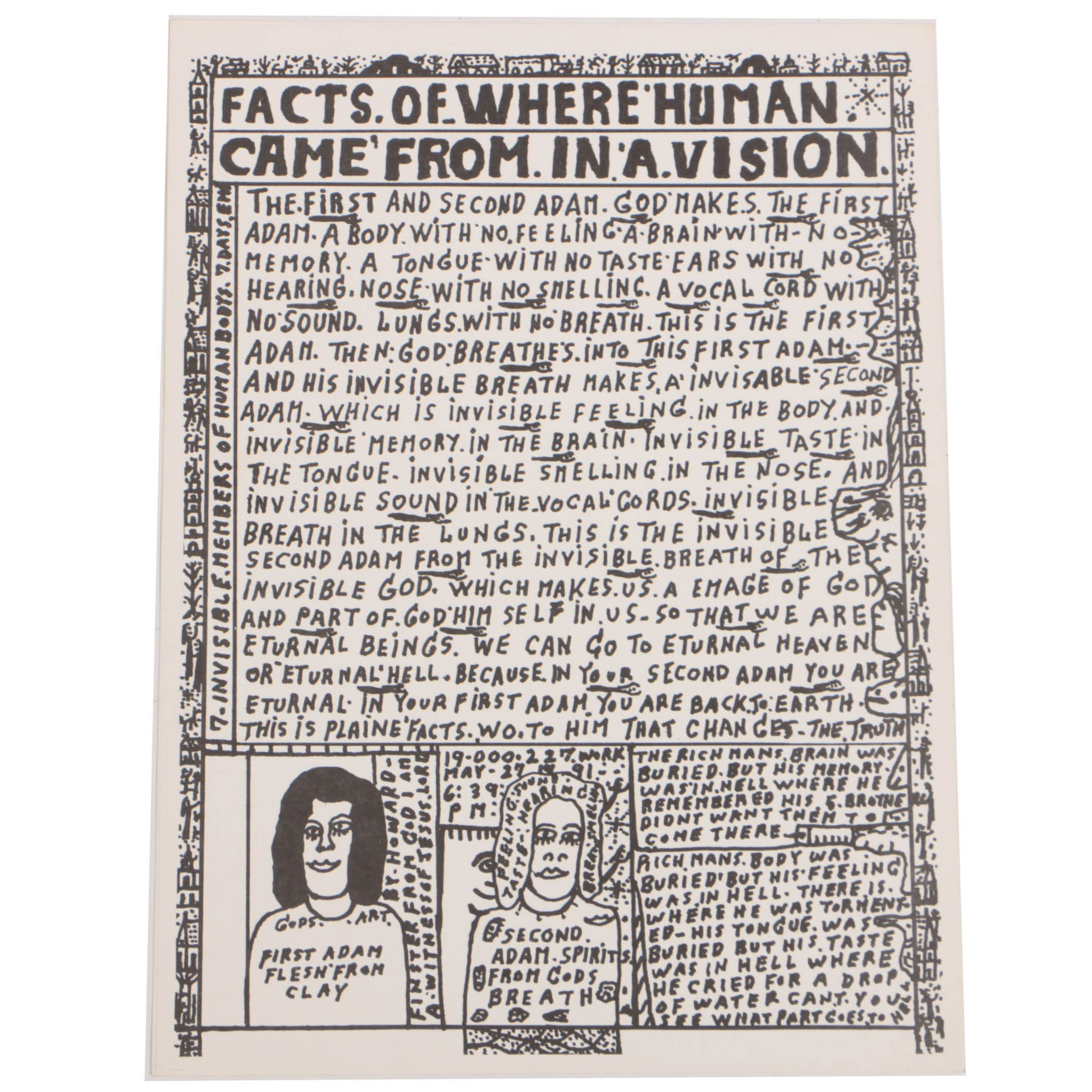 """Howard Finster Poster Print """"Facts of Where Human Came from in a Vision"""""""