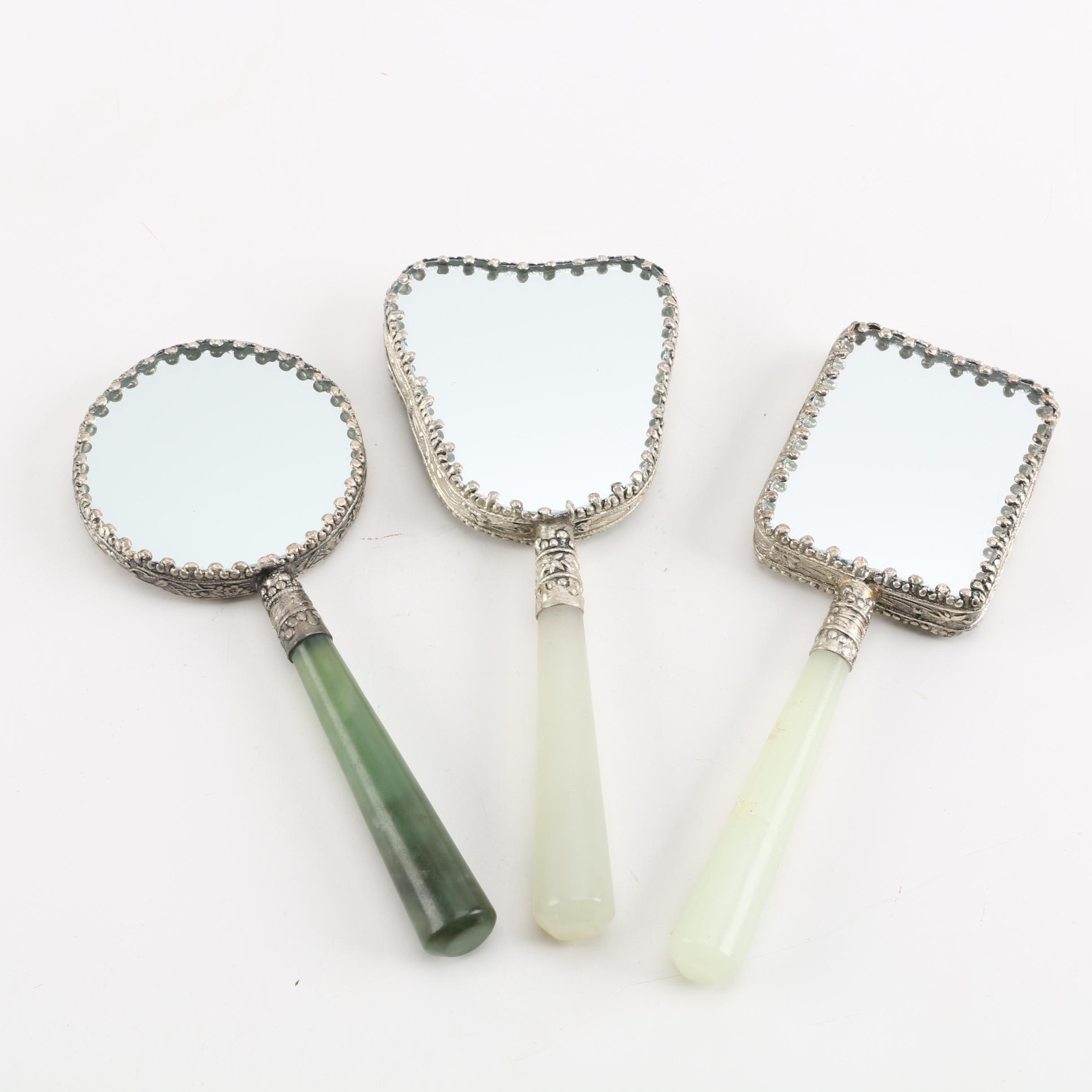 Hand-Painted Chinese Hand Mirrors with Bowenite Handles