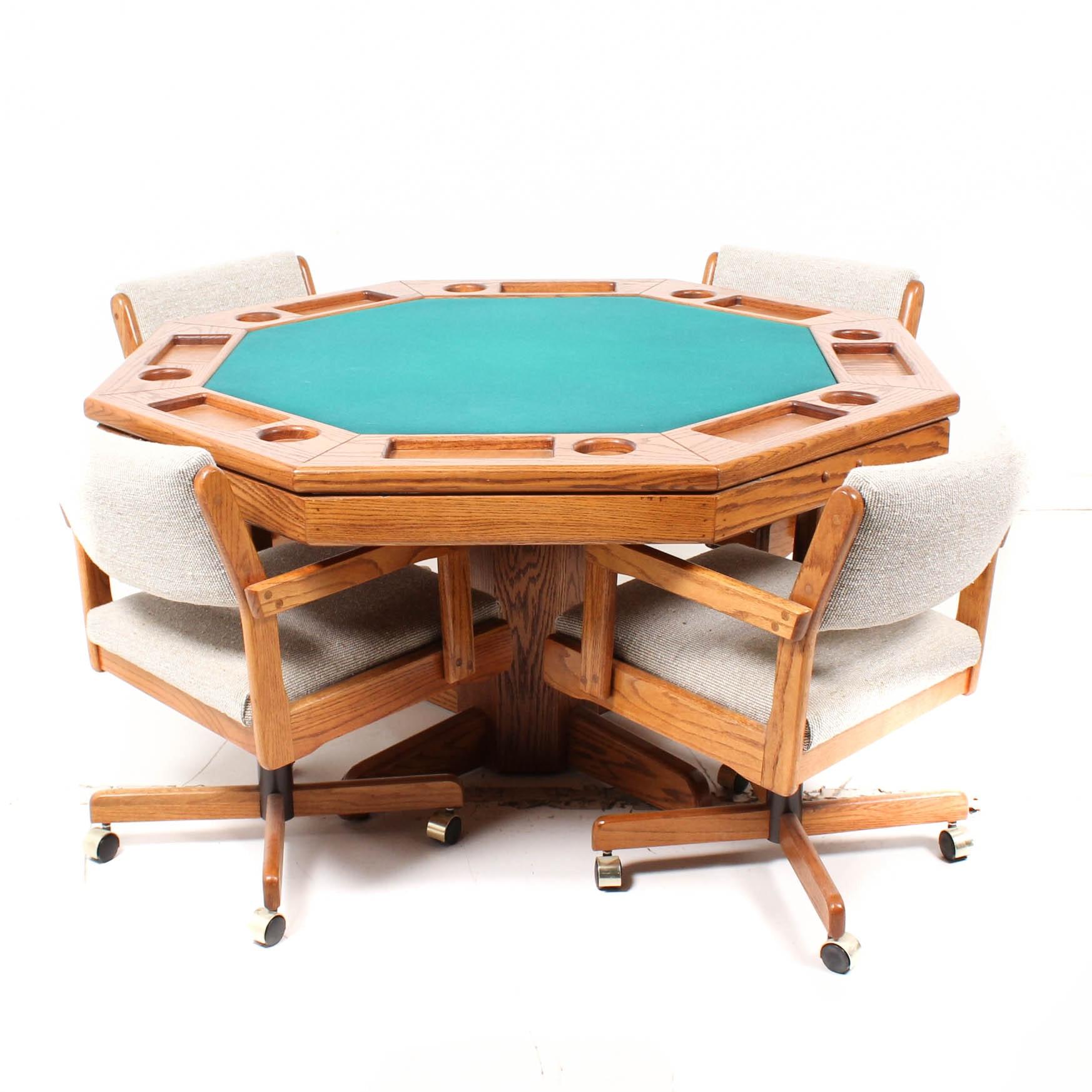 Octagonal Oak Convertible Game Table ...