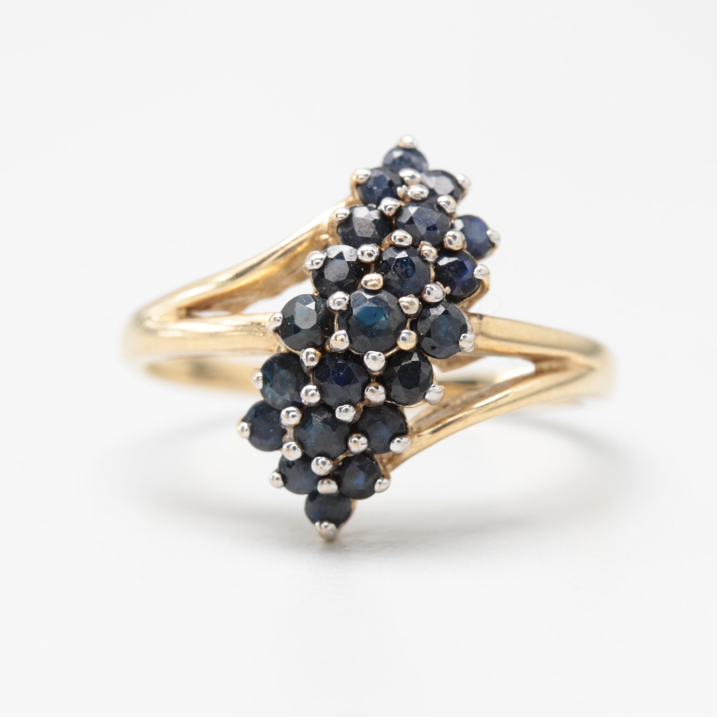10K Yellow Gold Blue Sapphire Ring