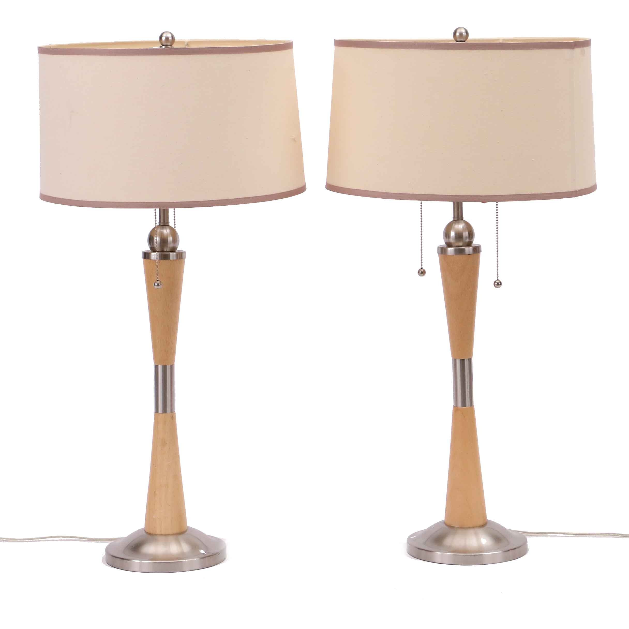 Mid Century Modern Style Wood and Brushed Nickel Lamps