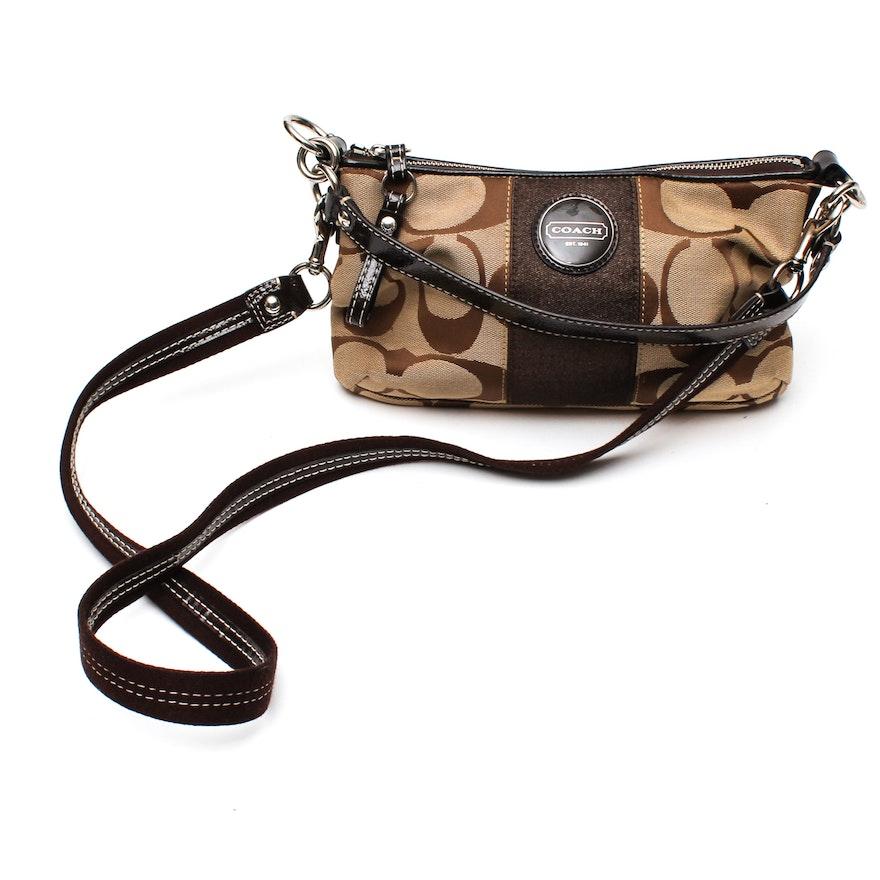 163d4cc275a8 Coach Brown Signature Stripe Demi Canvas and Leather Crossbody Handbag   F17439   EBTH