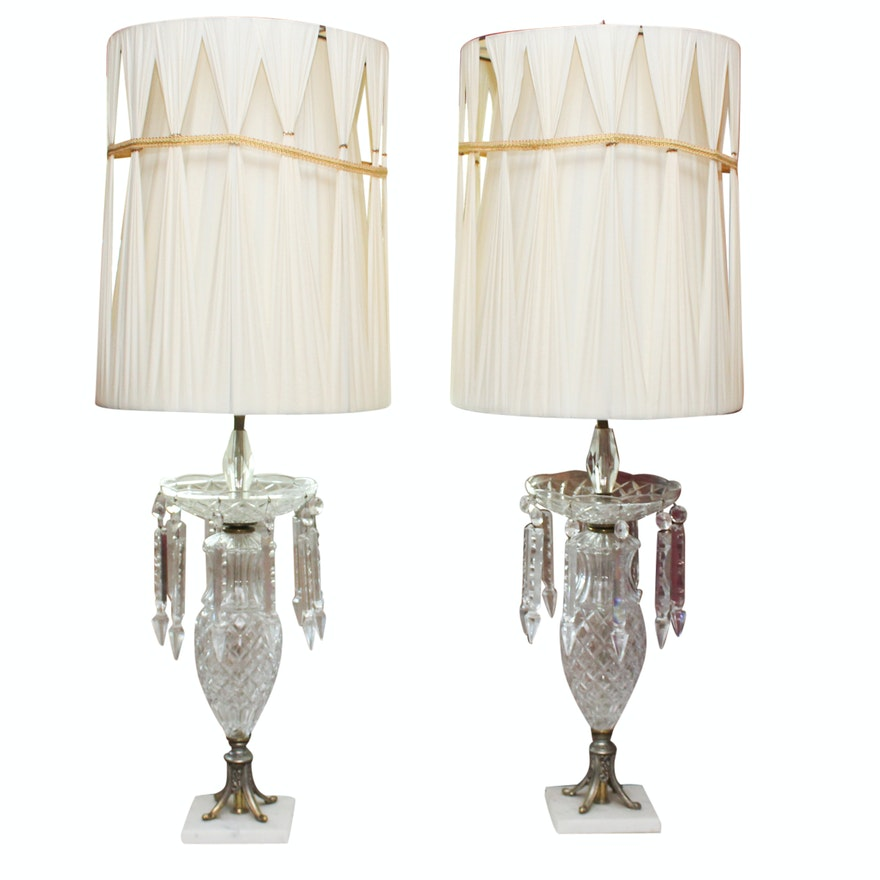 Large Cut Glass And Crystal Prism Table Lamps Ebth