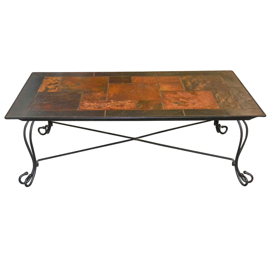 Faux Stone Tile Top Coffee Table