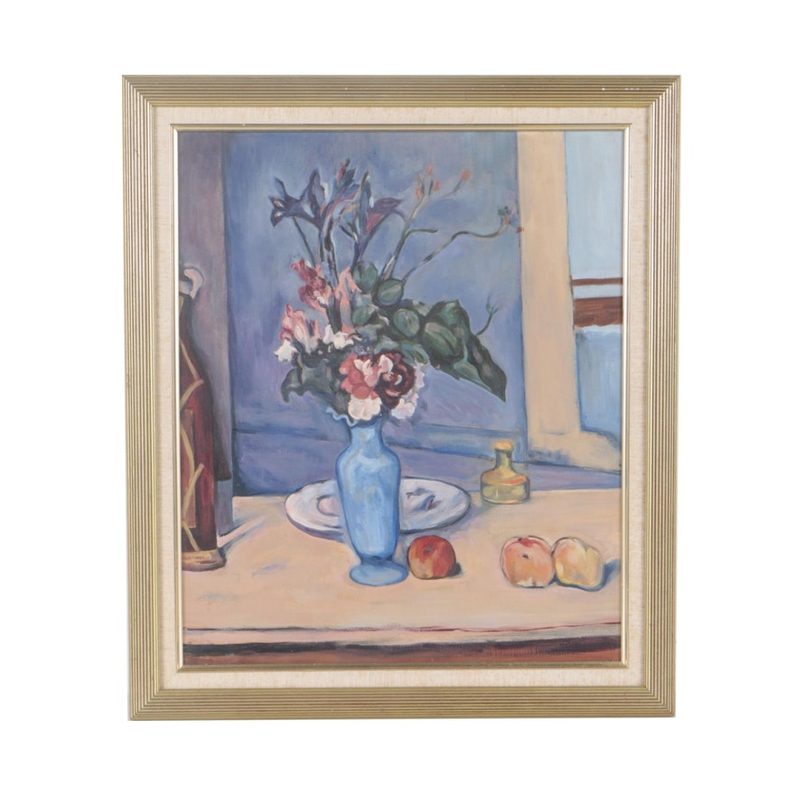 After Paul Czanne Copy Oil Painting The Blue Vase Ebth
