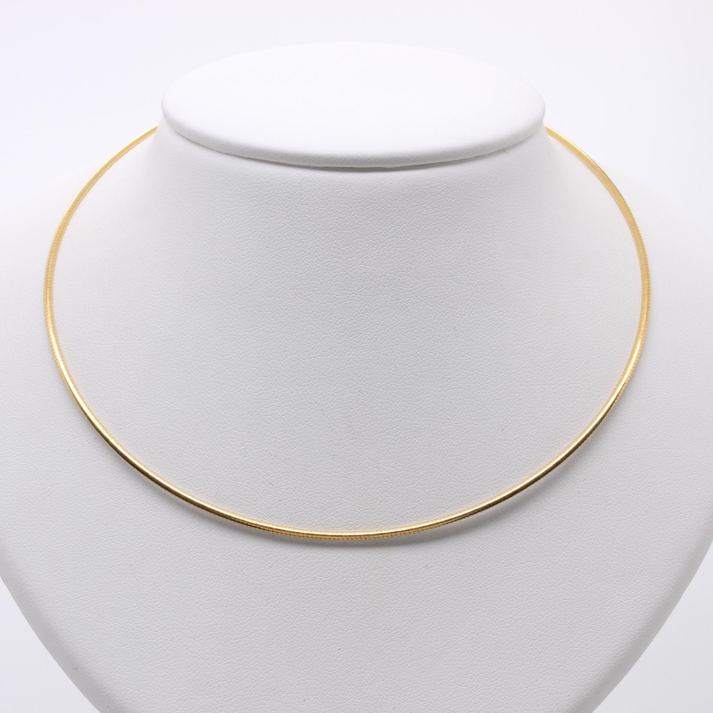18K White and Yellow Gold Omega Necklace