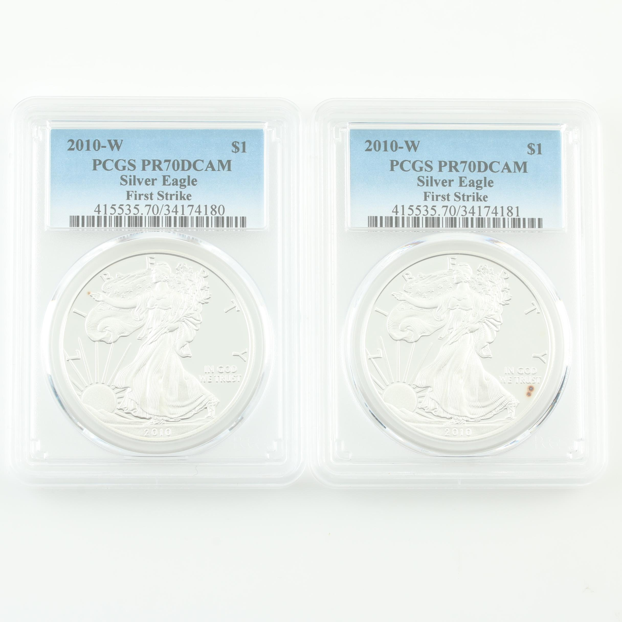 Two PCGS Graded PR70DCAM 2010-W Silver Eagle First Strike Bullion Coins