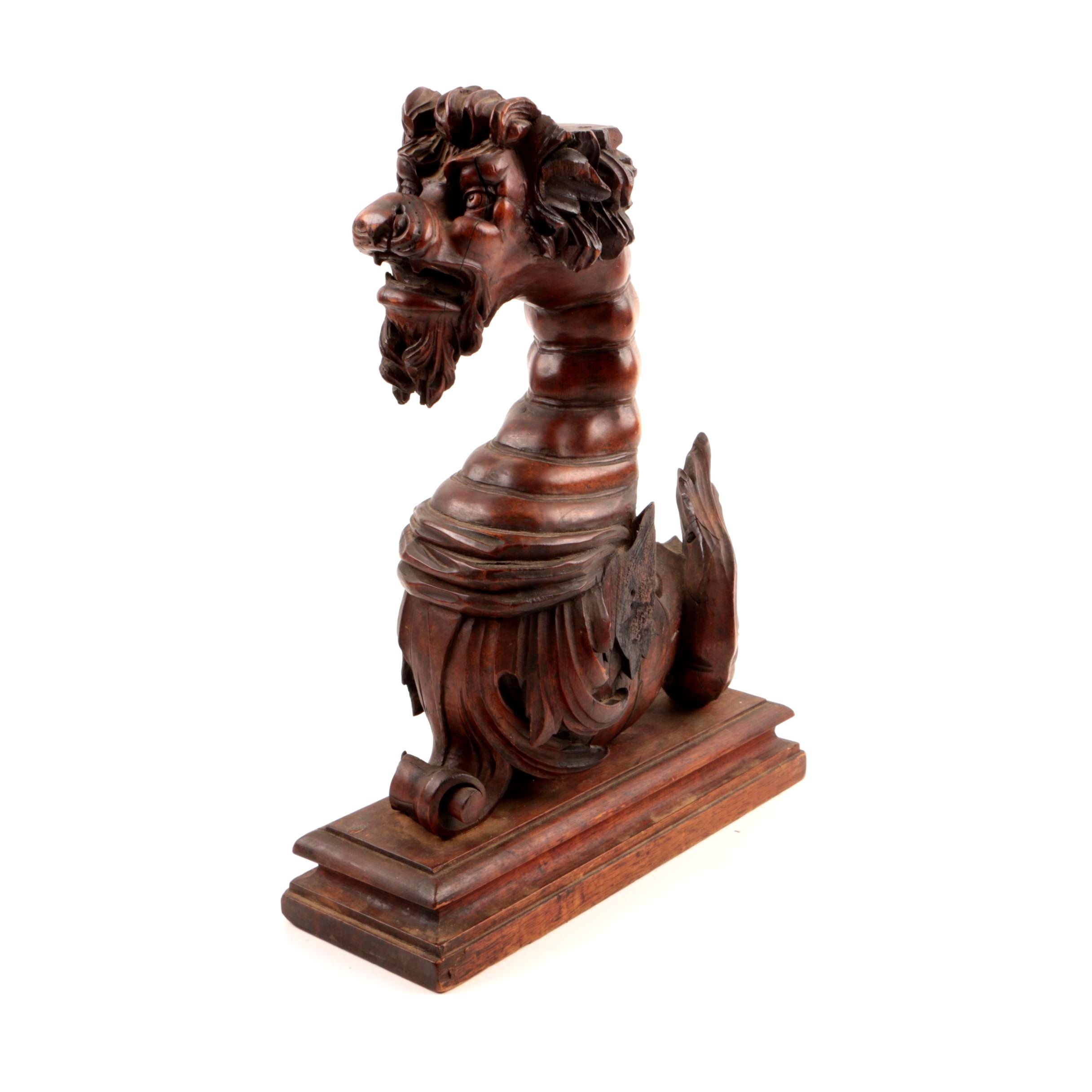 Antique Hand-Carved Walnut Chimera Corbel, Late 19th Century