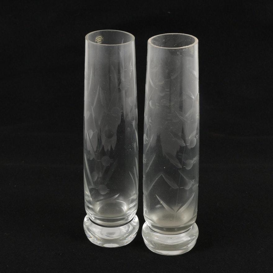 Vintage Romanian Cut Glass Vases Ebth