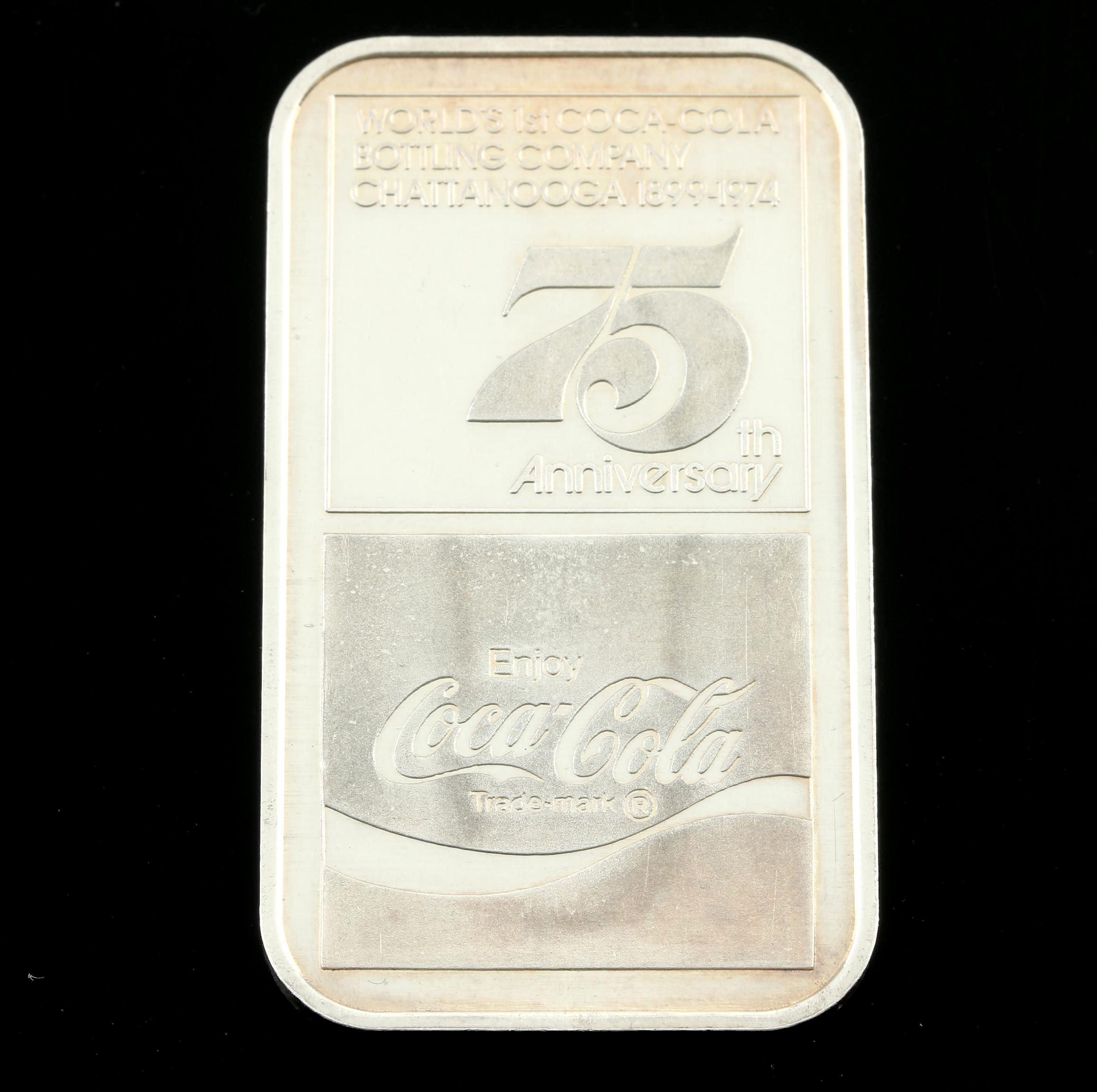 Coca Cola 75th Anniversary Commemorative 1-Troy Oz. Silver Ingot