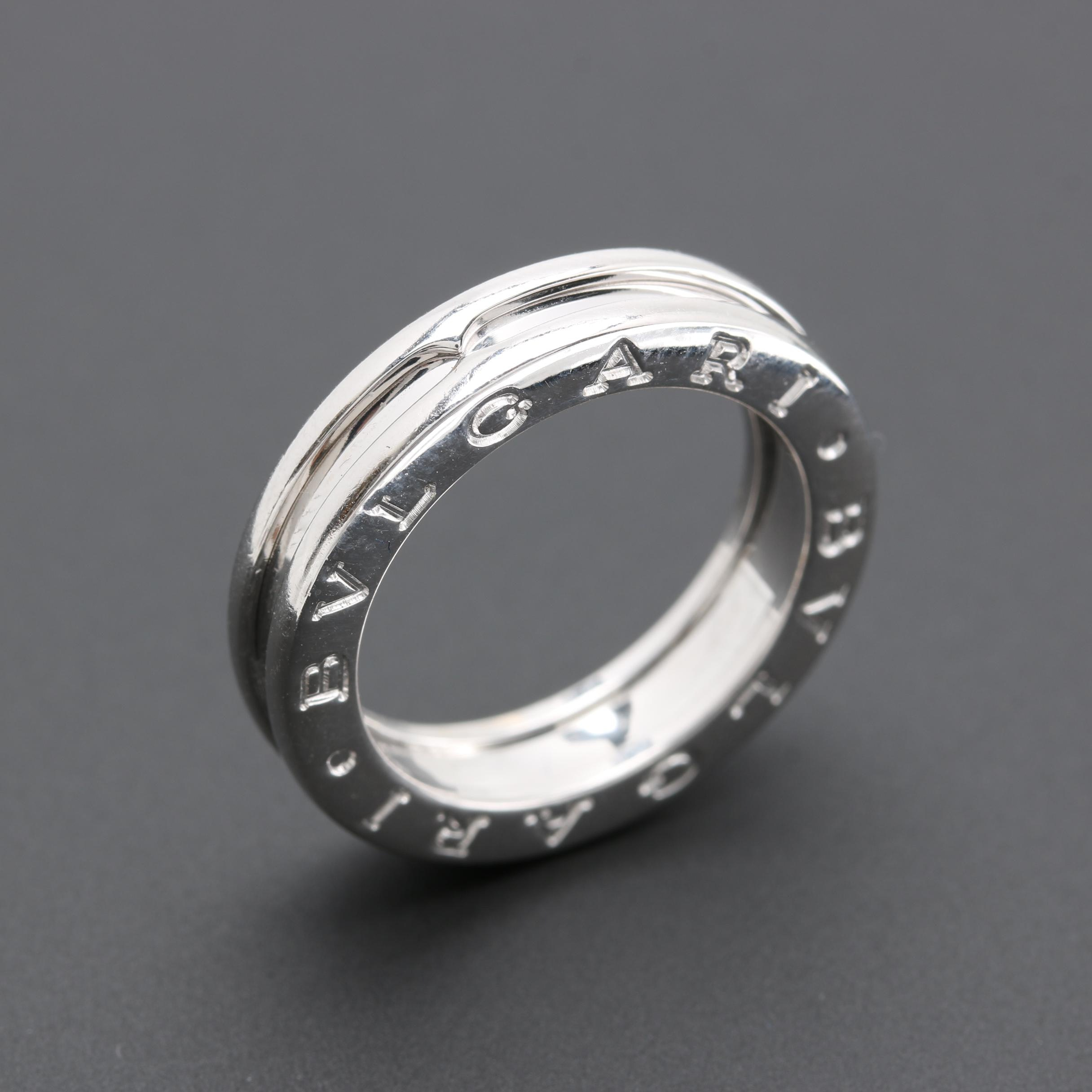 "Bulgari 18K White Gold ""B.Zero1"" Three-Band Ring"