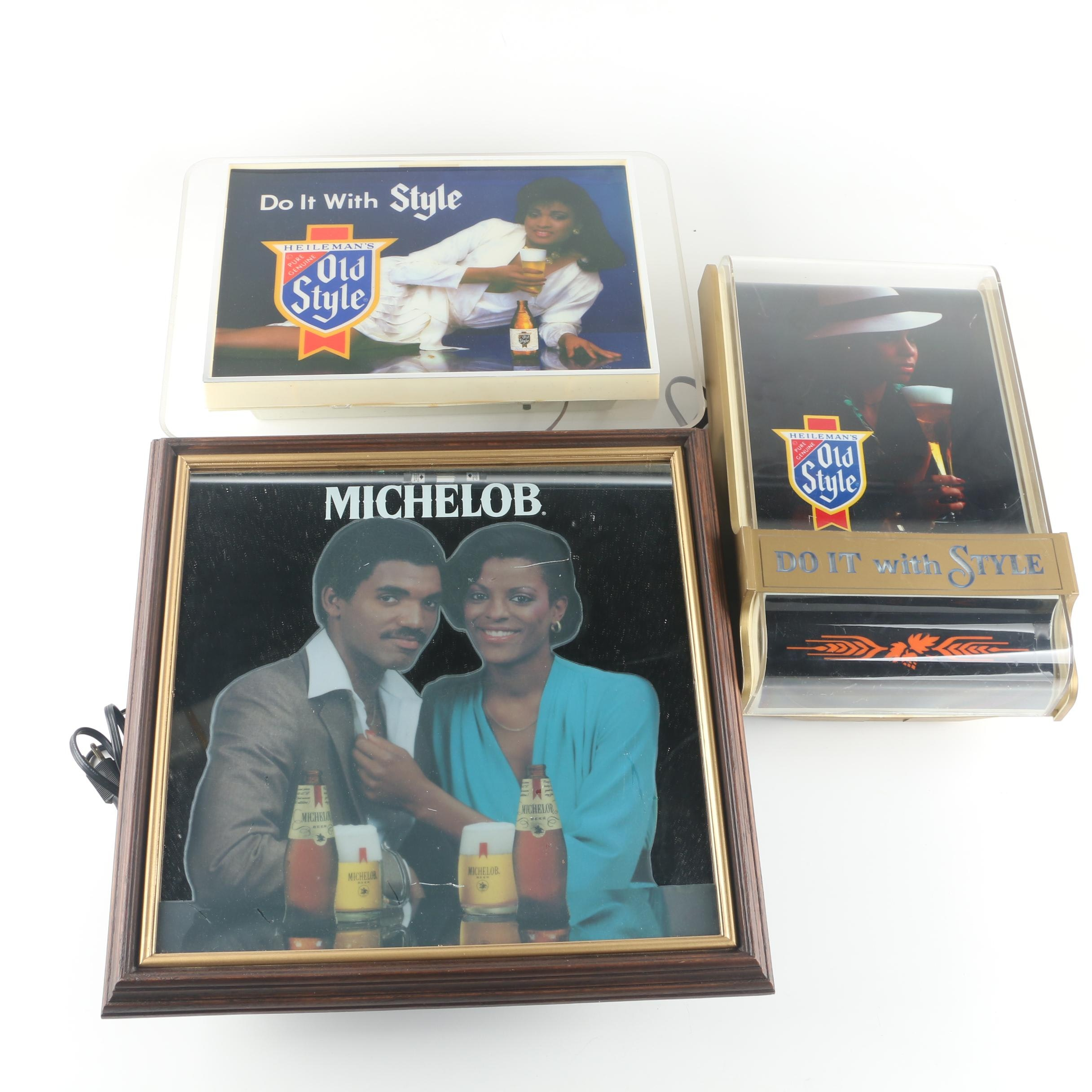 Vintage Michelob and Old Style Beer Illuminated Pub Signs