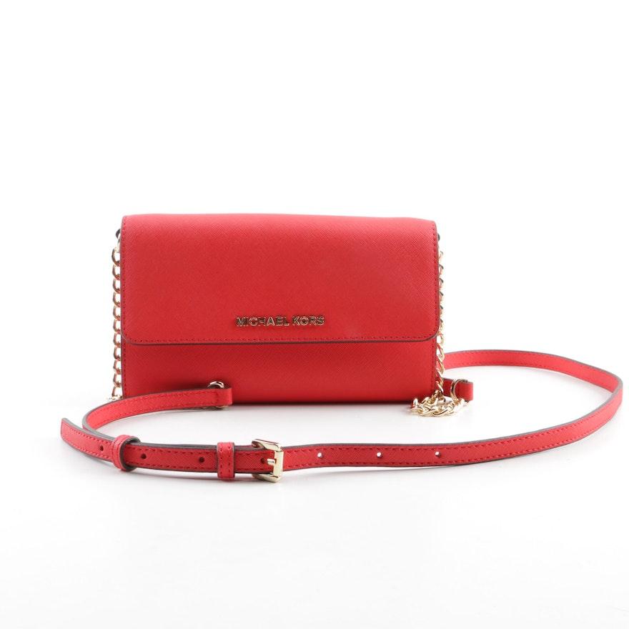abe789ae9091f MICHAEL Michael Kors Red Saffiano Leather Convertible Crossbody Bag   EBTH