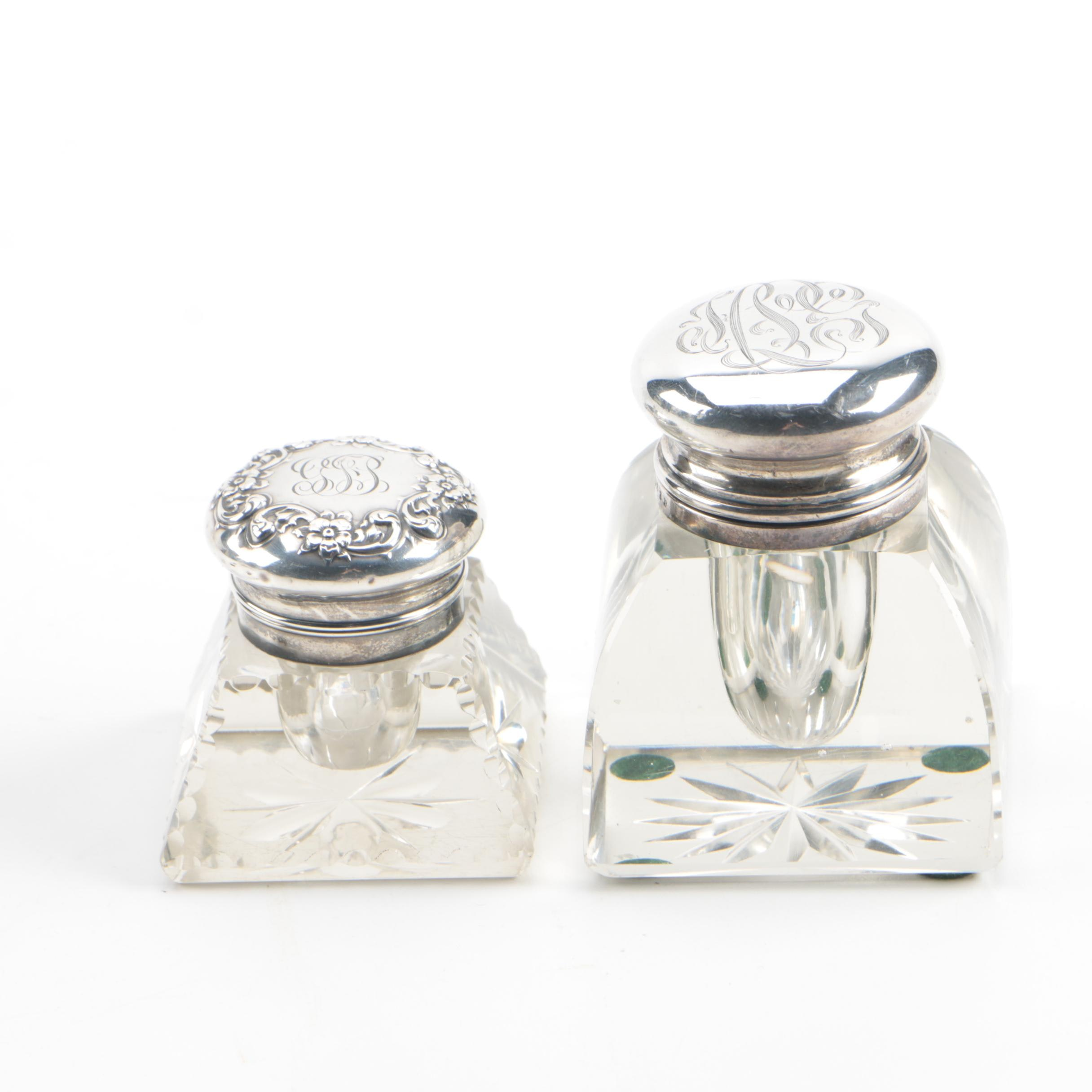 Vintage Sterling Silver and Glass Inkwells featuring Simon Brothers