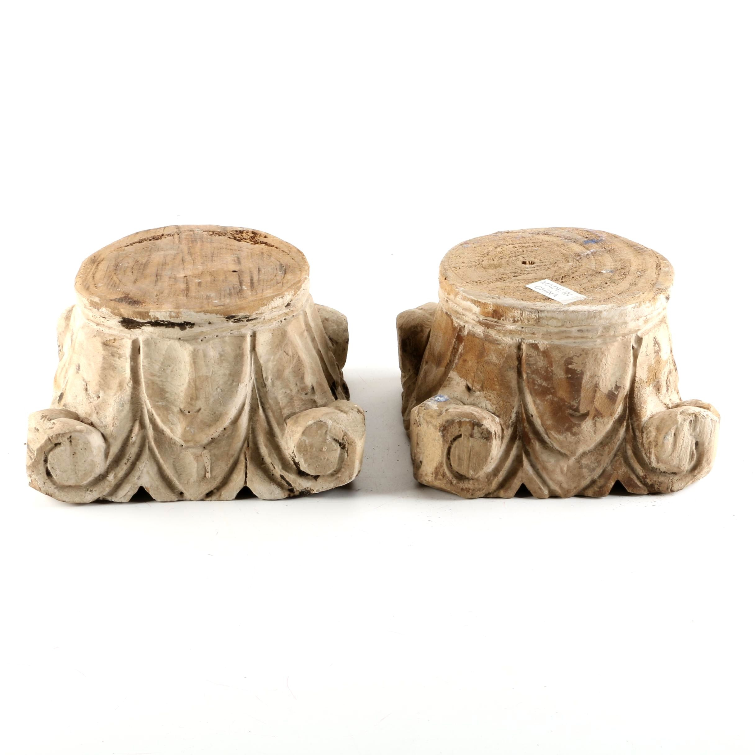 Ionic Style Carved Wooden Column Capitals