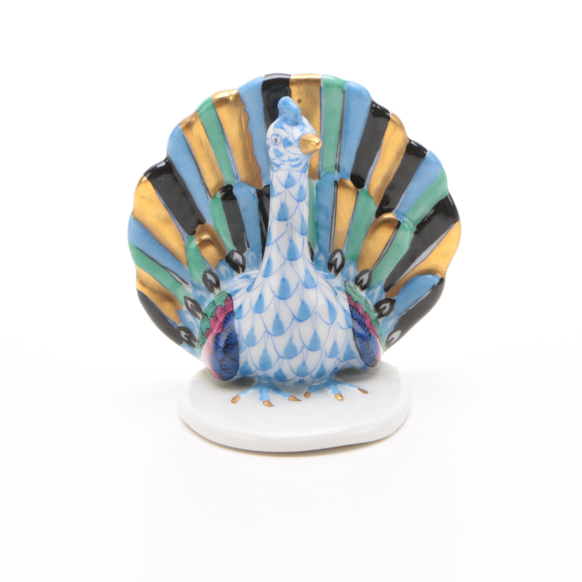 "Herend Hungary ""Peacock"" Porcelain Figurine"