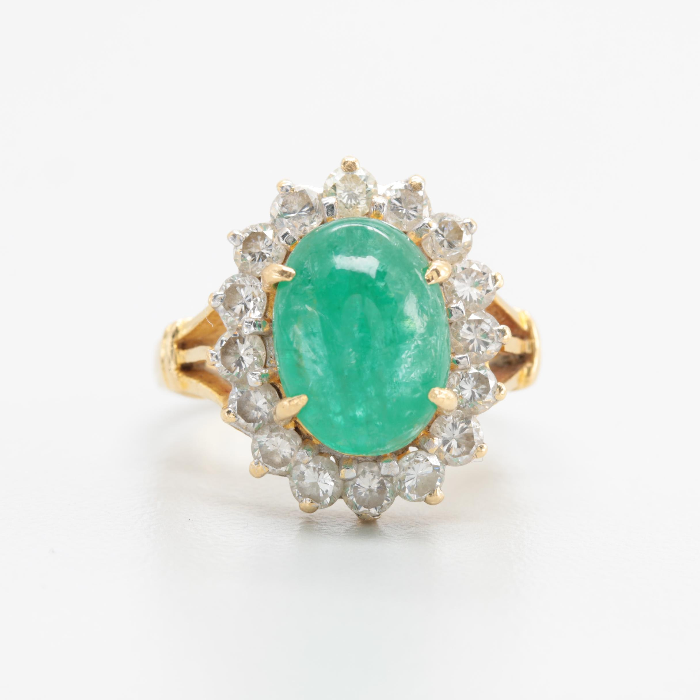 18K Yellow Gold 3.89 CT Emerald and 1.04 CTW Diamond Ring