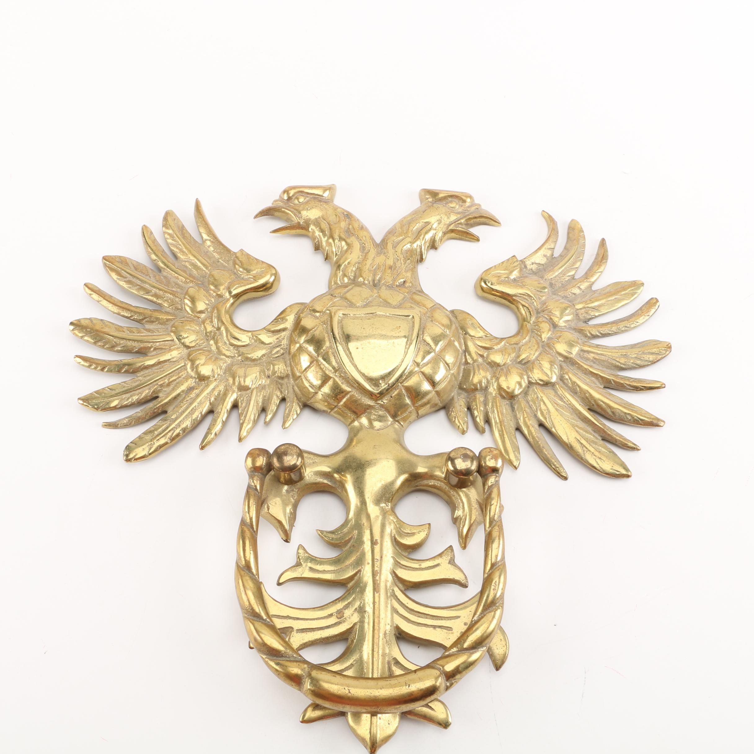 Gold Tone Double Headed Eagle Door Knocker