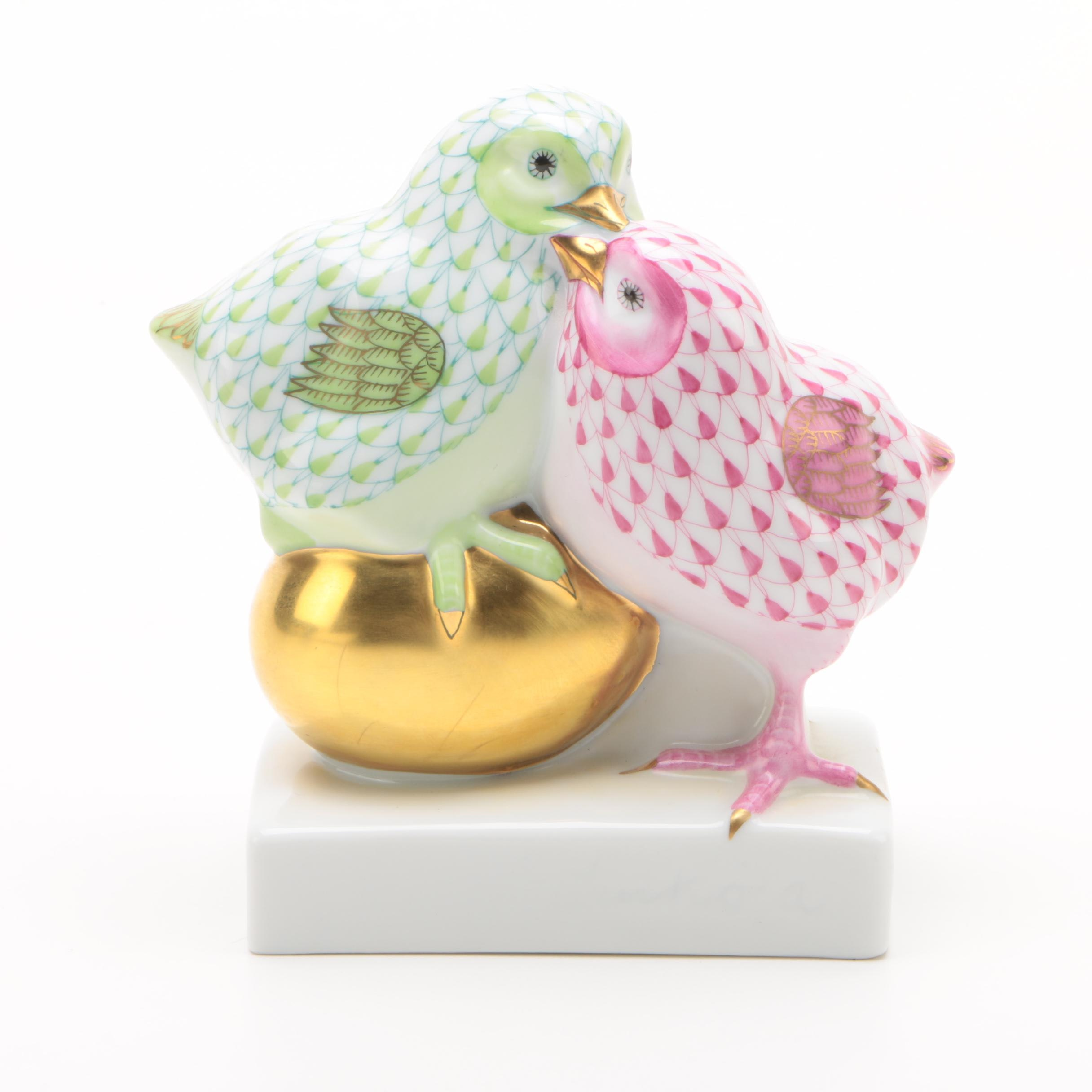 "Herend ""Pair of Chicks on Golden Egg"" Porcelain Figurine"