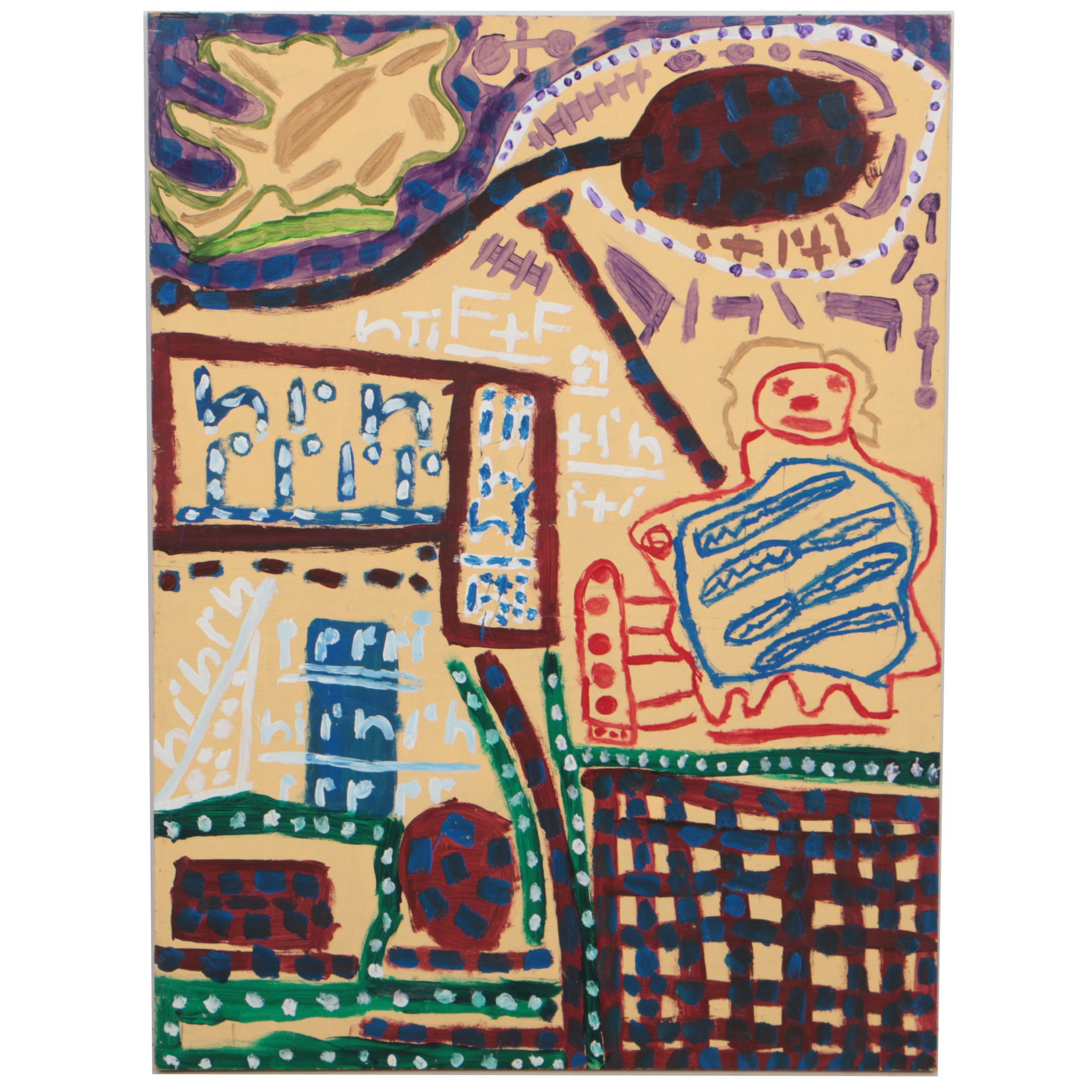 "Kevin White 2008 Acrylic Painting on Wood ""Untitled (Naples Yellow)"""