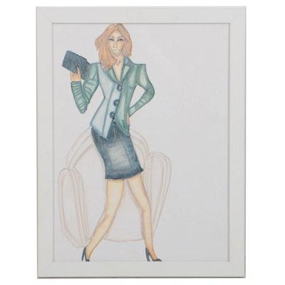 "Nikki Martin 2016 Mixed Media Drawing on Mat Board ""Lady Boss"""