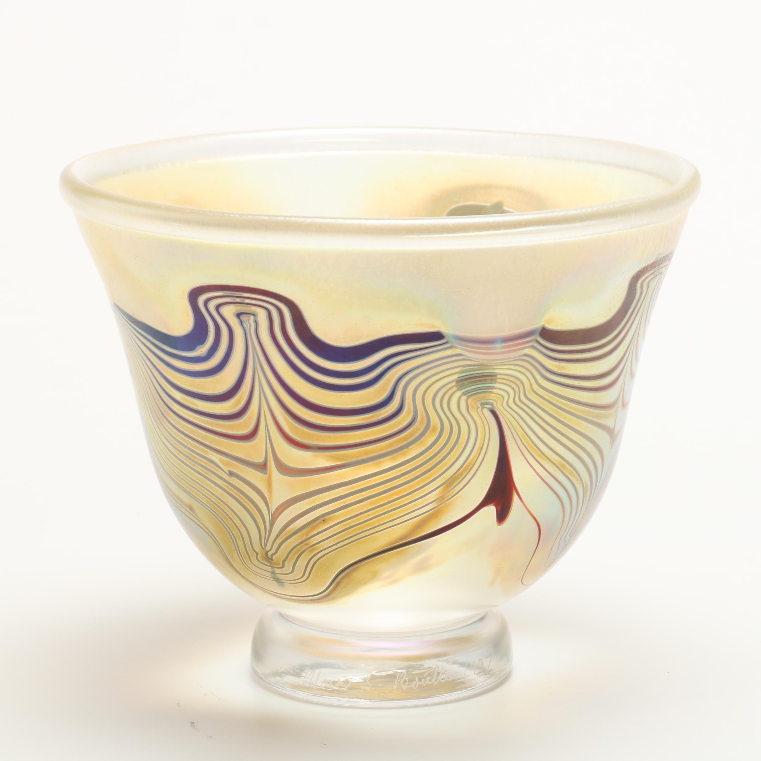 1997 Marc S. Bouttè Feathered Iridescent Art Glass Footed Bowl