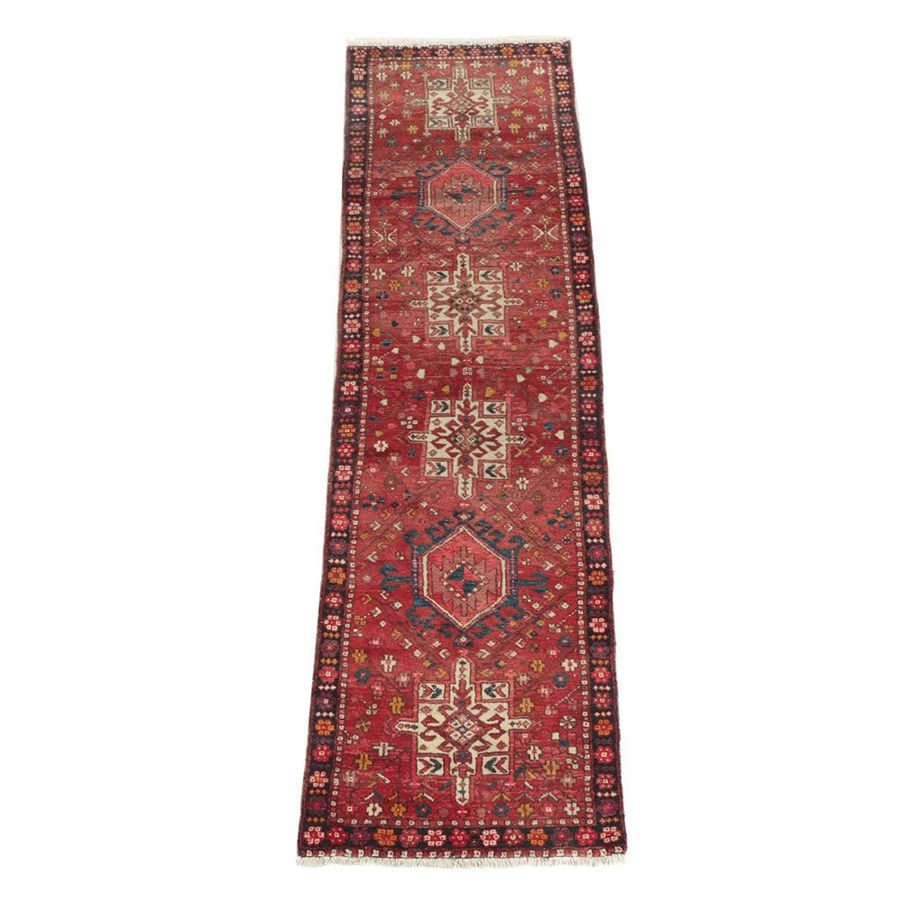 Hand-Knotted Persian Heriz Wool Carpet Runner