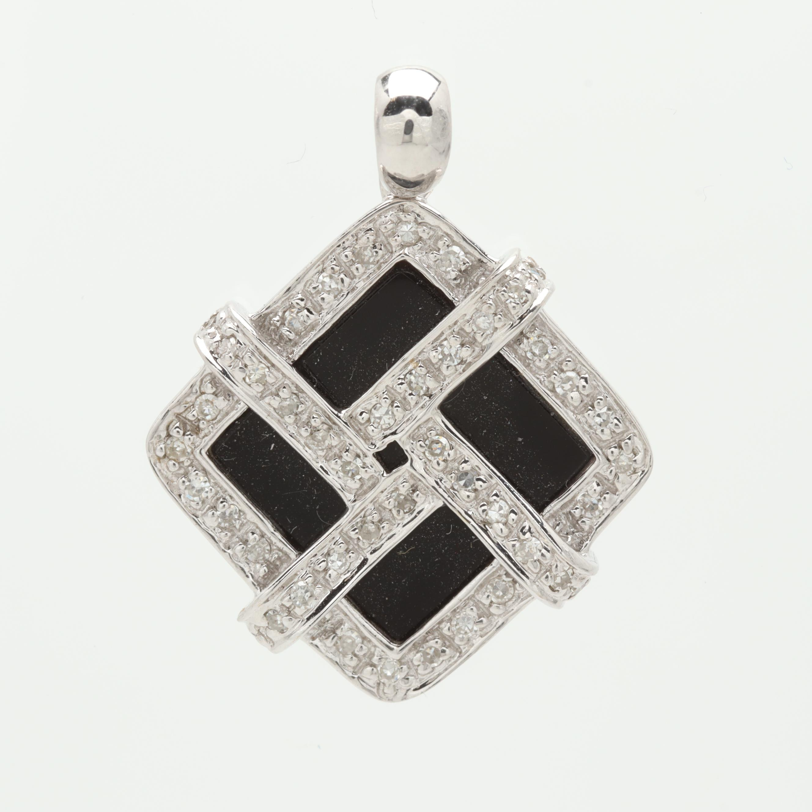 14K White Gold Black Onyx and Diamond Pendant