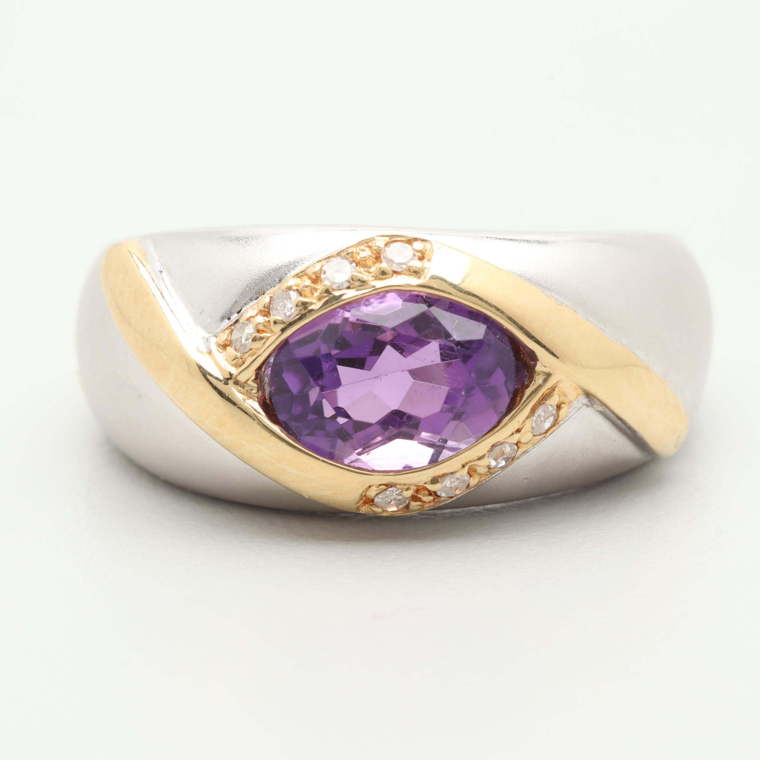 14K White Gold Amethyst and Diamond Ring with Yellow Gold Accents