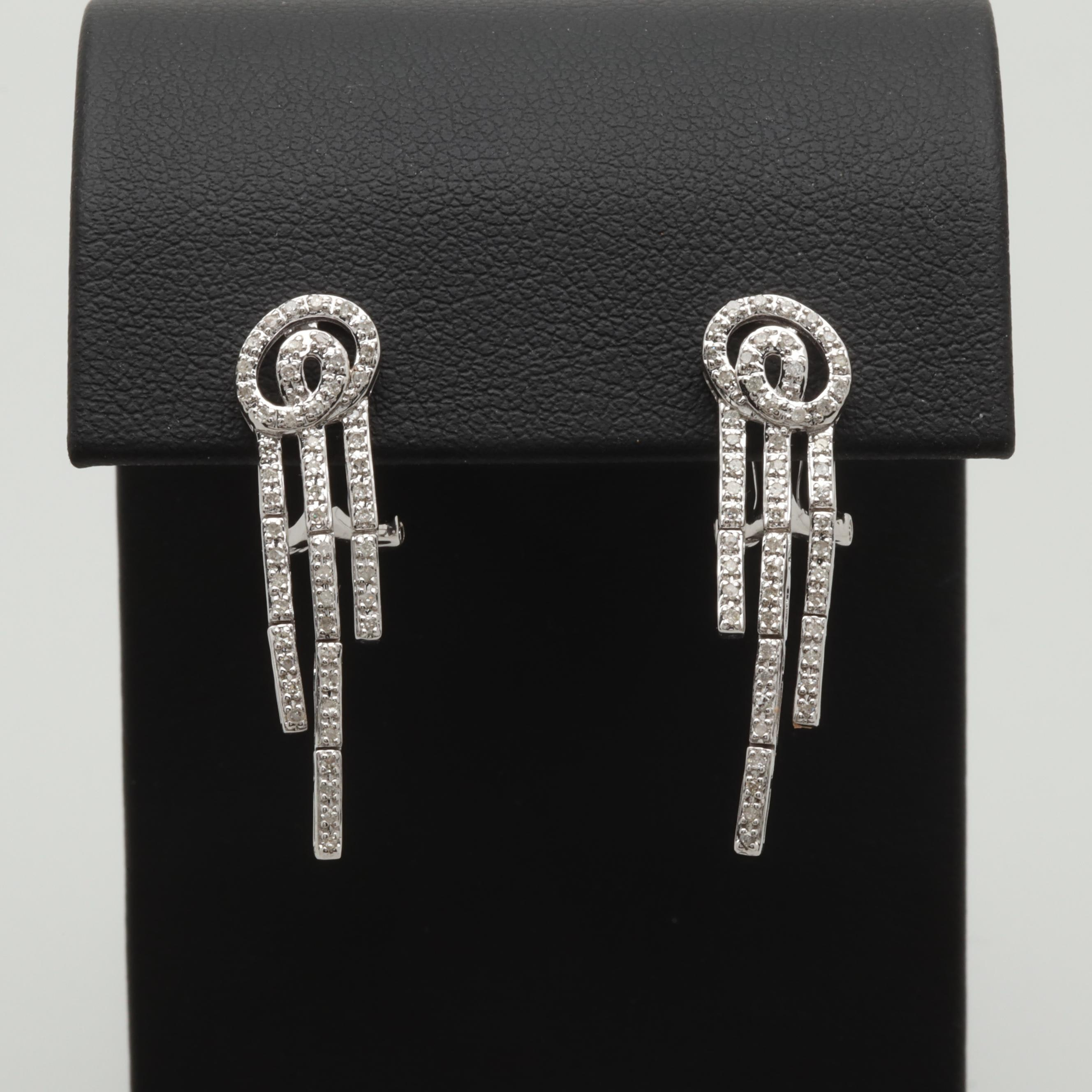 14K White Gold Diamond Articulated Dangle Earrings