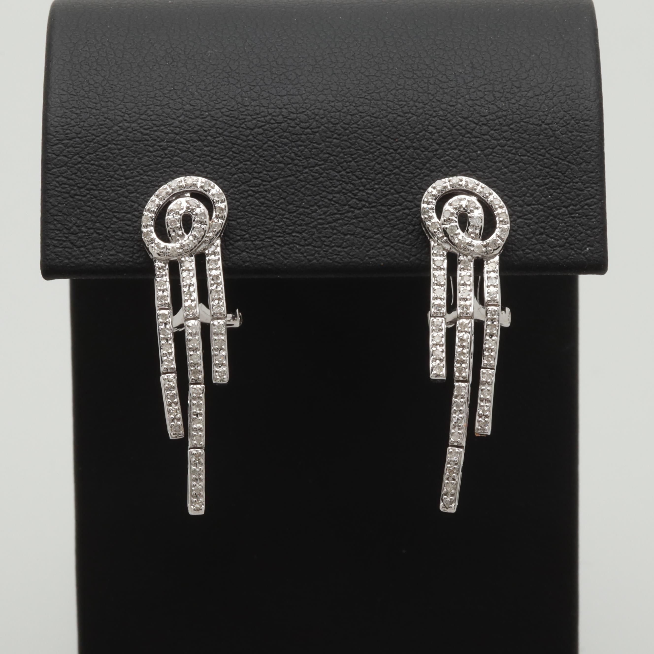 14K White Gold Diamond Articulated Dangle Earrings