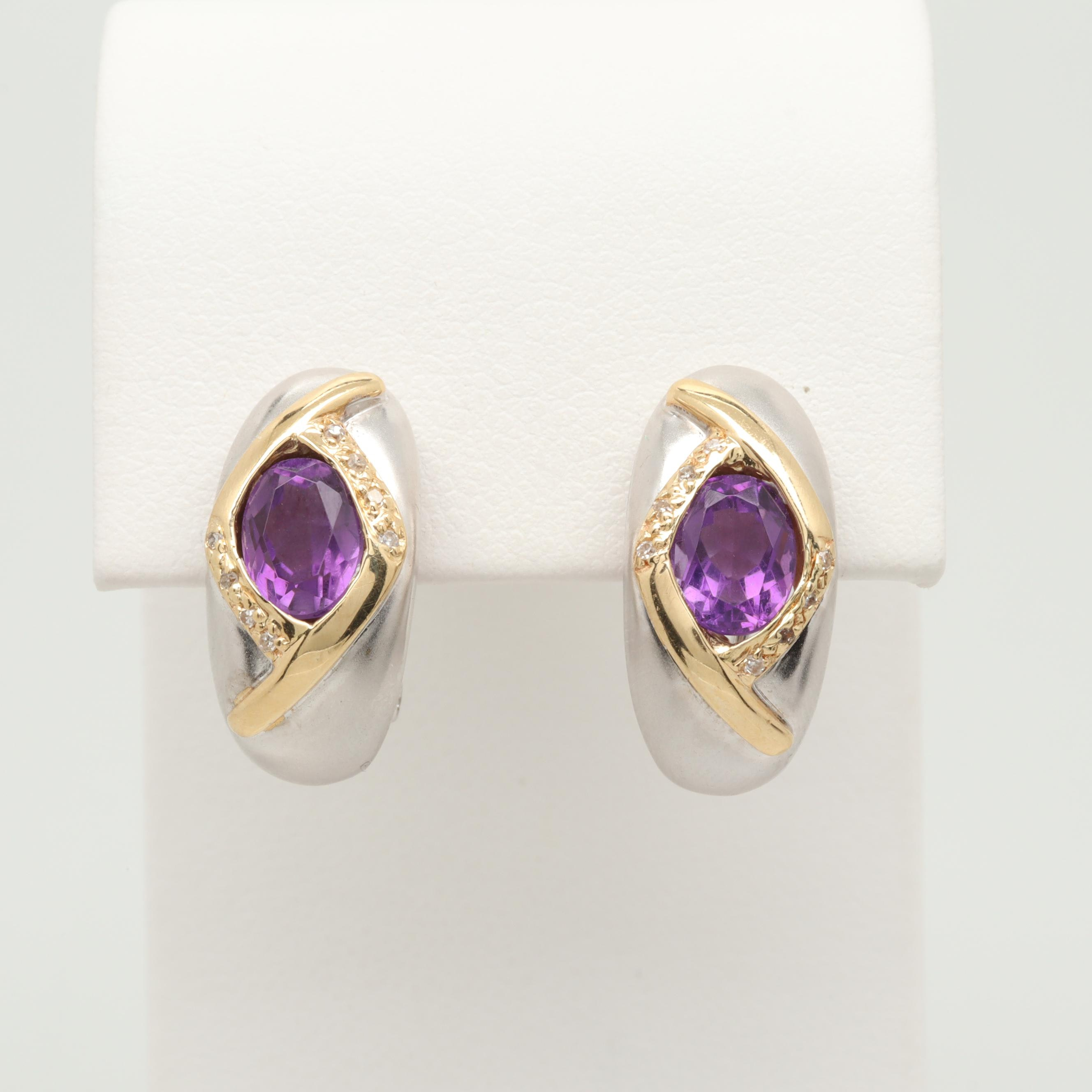 14K White and Yellow Gold Amethyst and Diamond Earrings