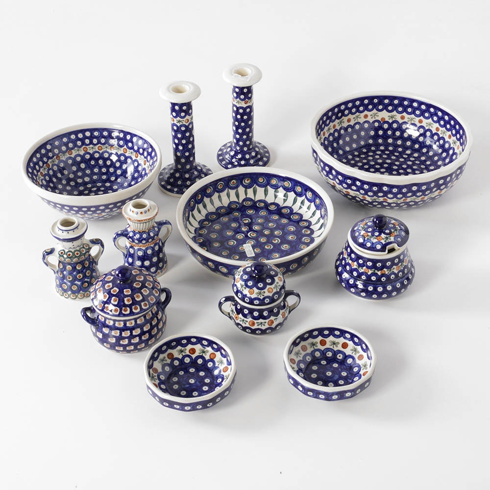 Boleslawiec Hand-Painted Polish Pottery Serving Pieces and Canisters