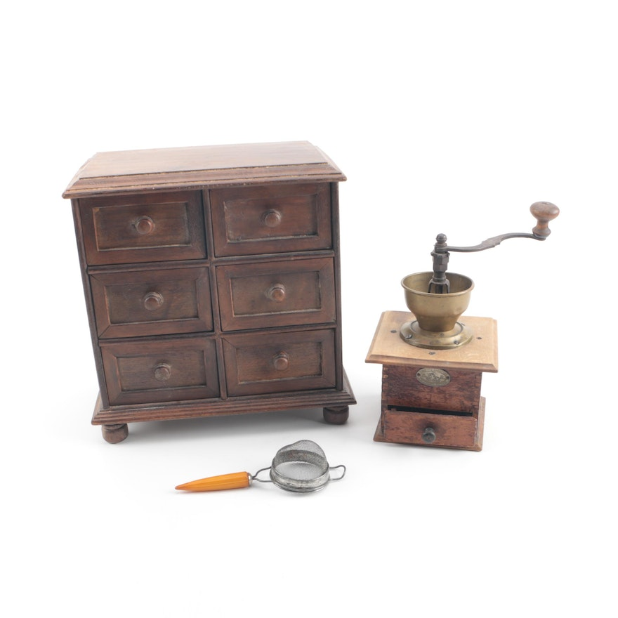 Vintage Zassenhaus Coffee Grinder With Wooden Spice Box And Sifter